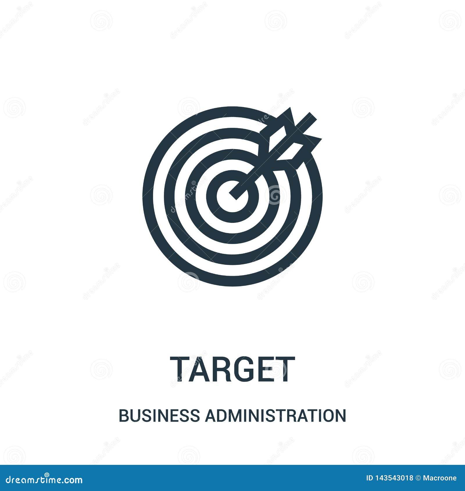 Vector del icono de la blanco de la colección de la administración de empresas Línea fina ejemplo del vector del icono del esquem