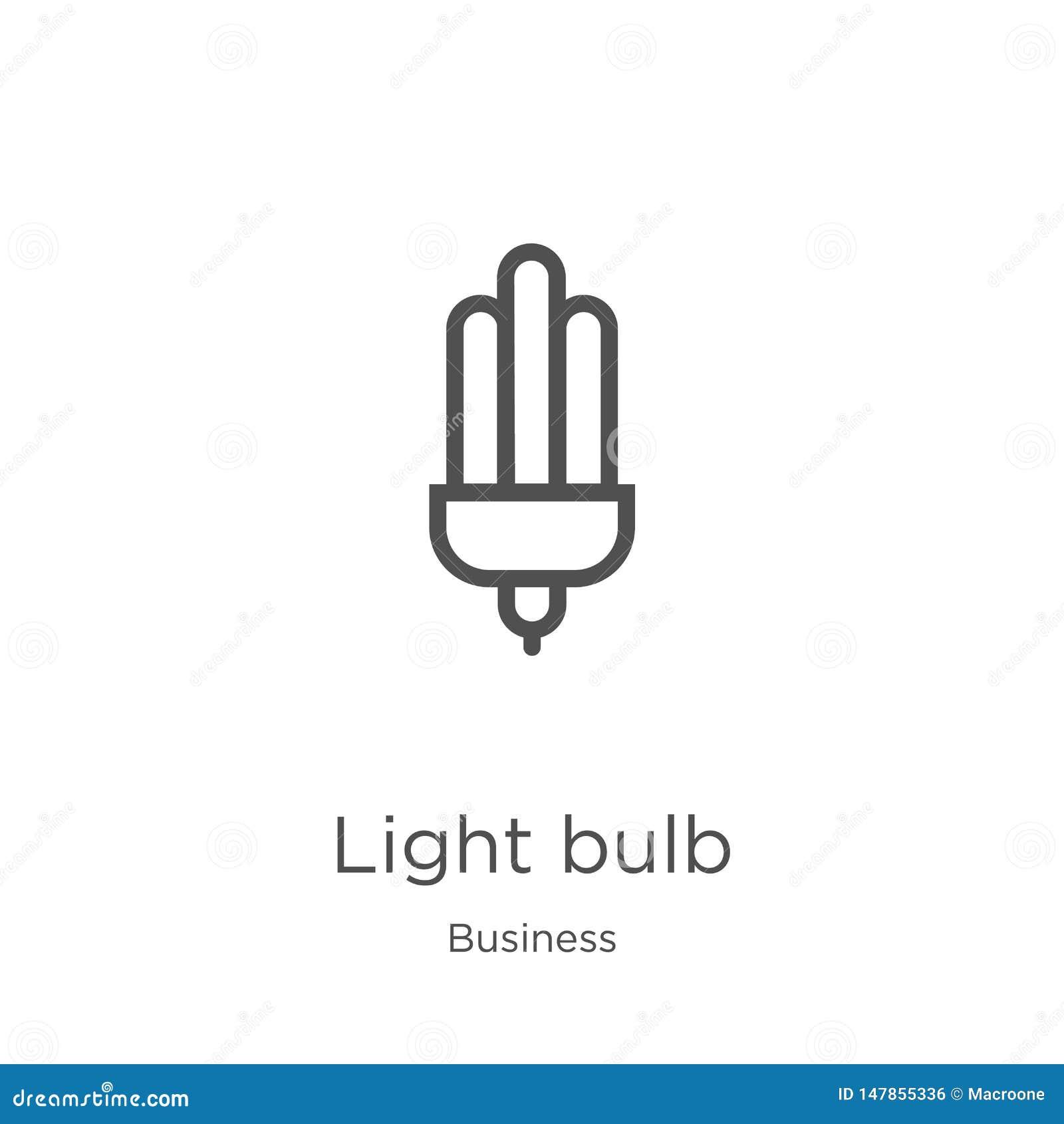 Vector del icono de la bombilla de la colecci?n del negocio L?nea fina ejemplo del vector del icono del esquema de la bombilla Es
