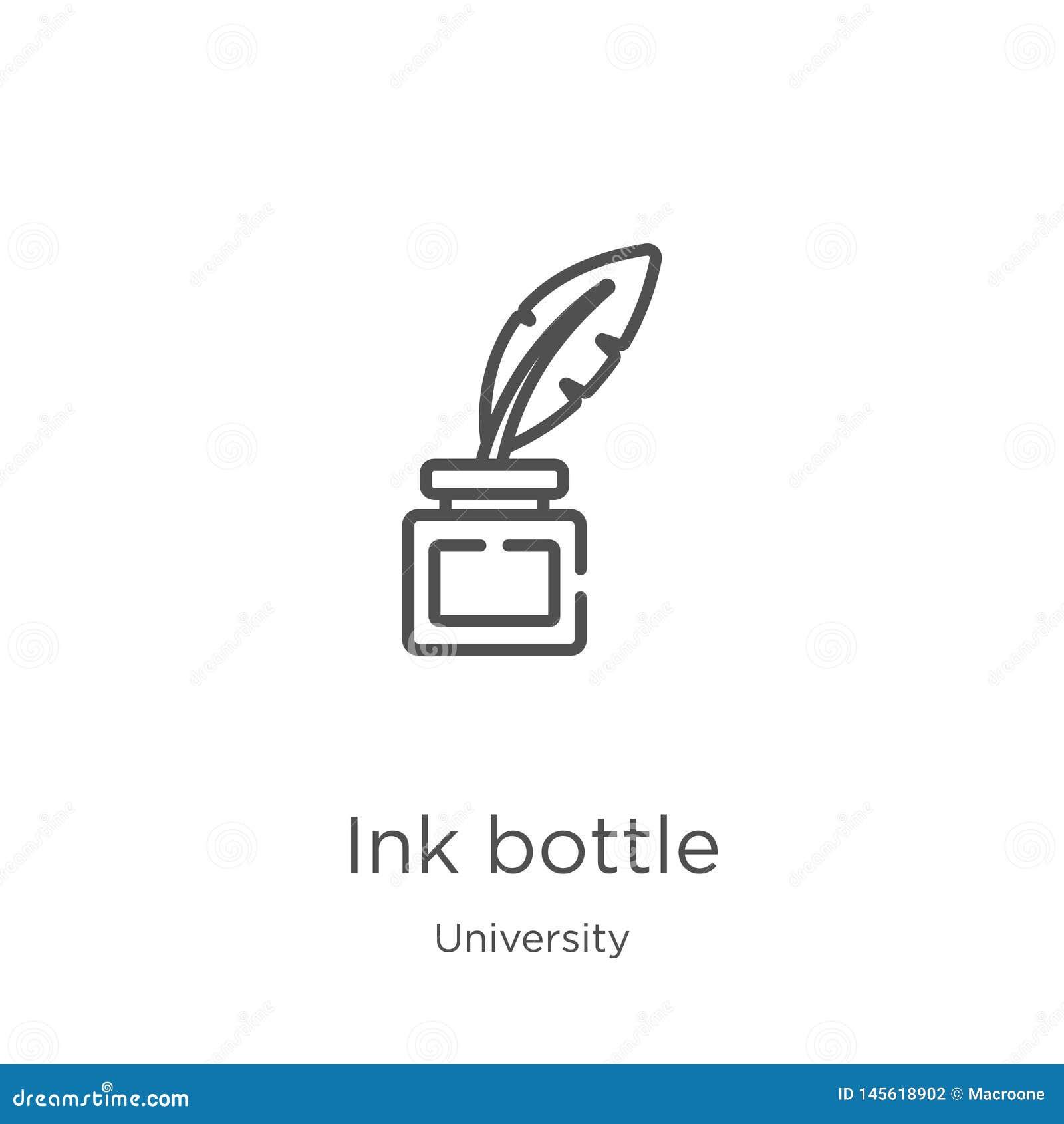 Vector del icono de la botella de tinta de la colección de la universidad Línea fina ejemplo del vector del icono del esquema de