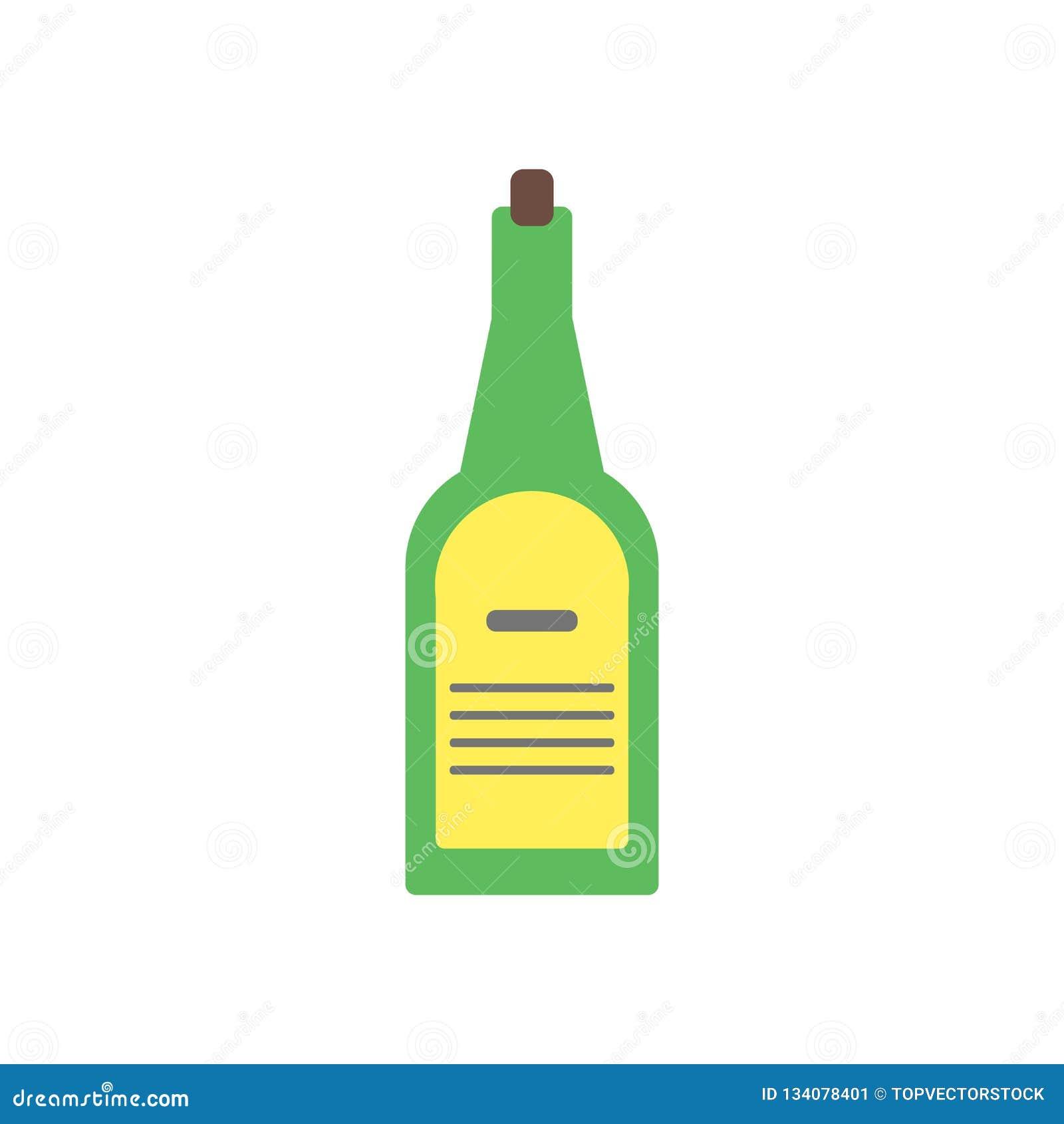 Vector del icono de la botella de vino aislado en el fondo blanco, muestra de la botella de vino
