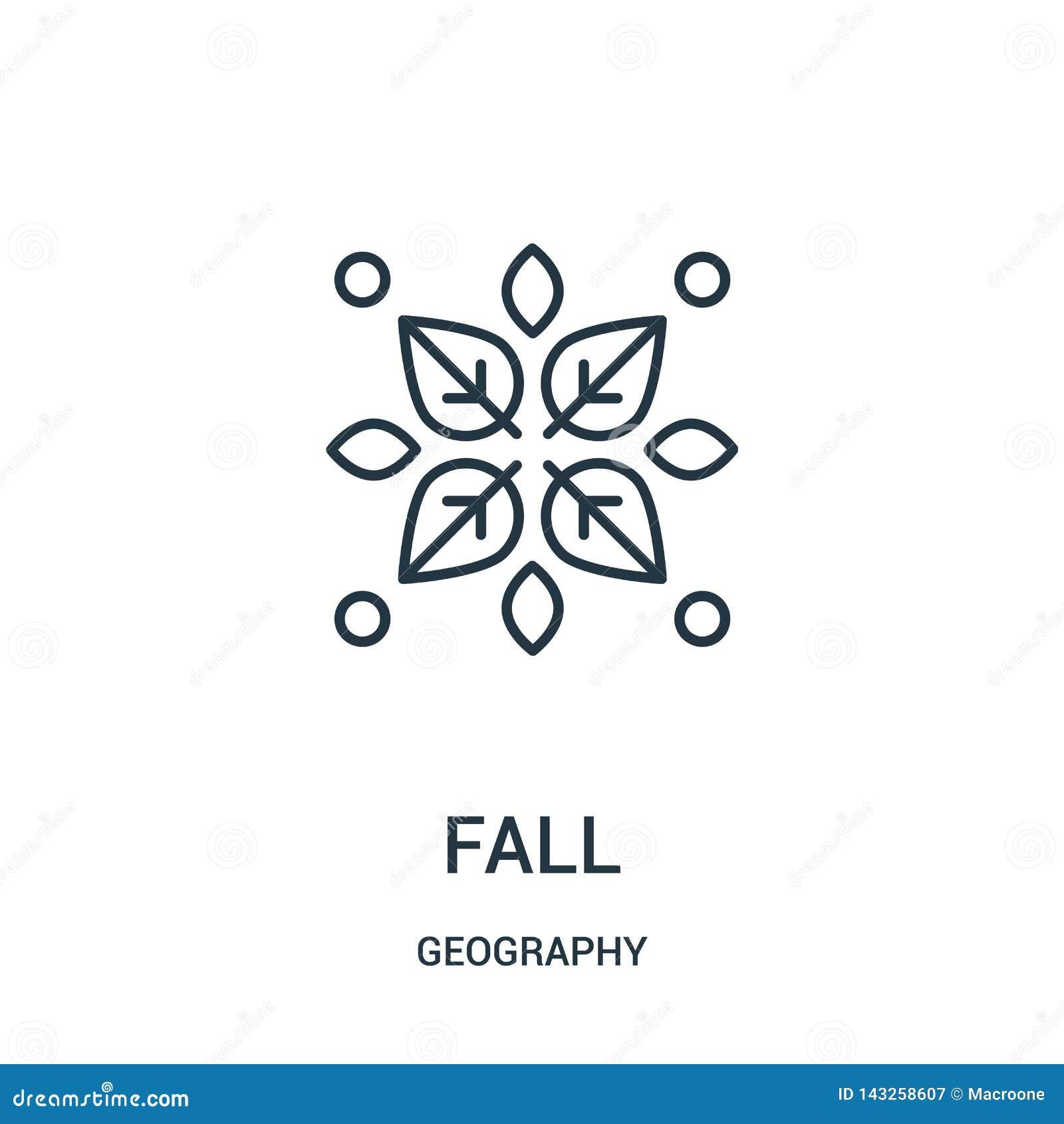 Vector del icono de la caída de la colección de la geografía Línea fina ejemplo del vector del icono del esquema de la caída