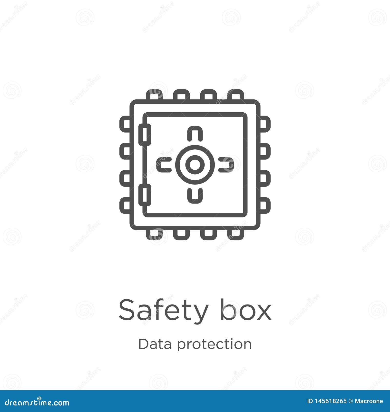 Vector del icono de la caja de seguridad de la colección de la protección de datos Línea fina ejemplo del vector del icono del es