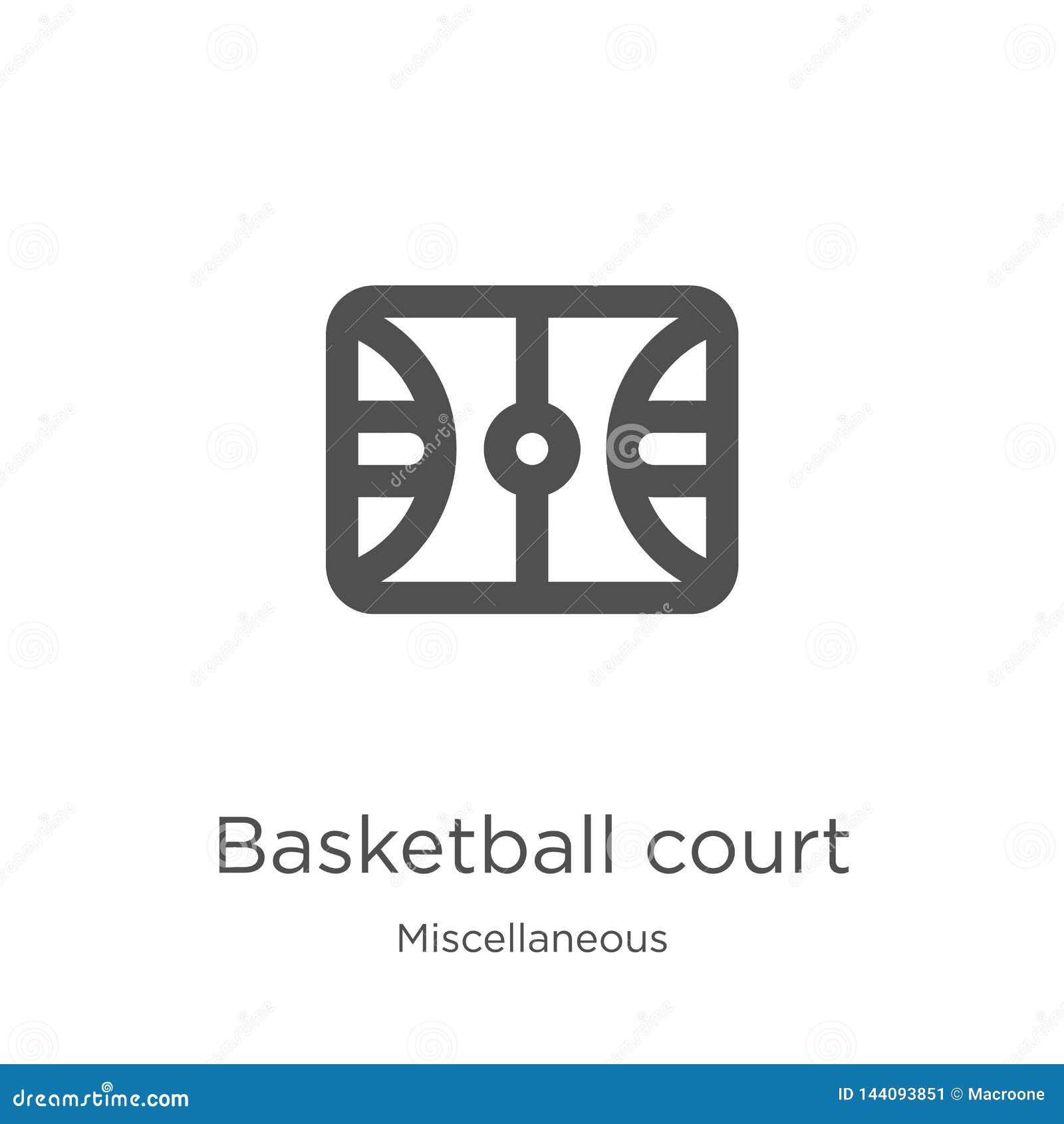 Vector del icono de la cancha de básquet de la colección diversa Línea fina ejemplo del vector del icono del esquema de la cancha