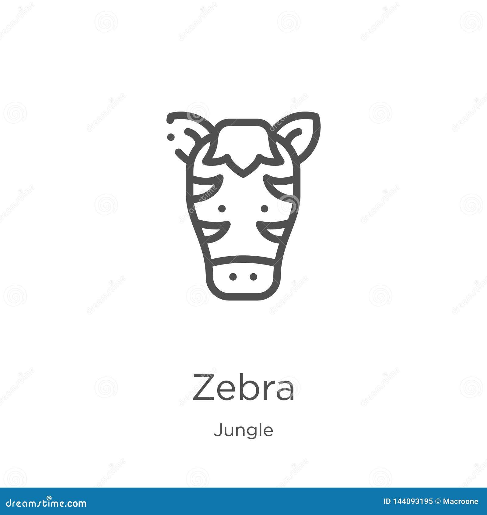 Vector del icono de la cebra de la colección de la selva Línea fina ejemplo del vector del icono del esquema de la cebra Esquema,