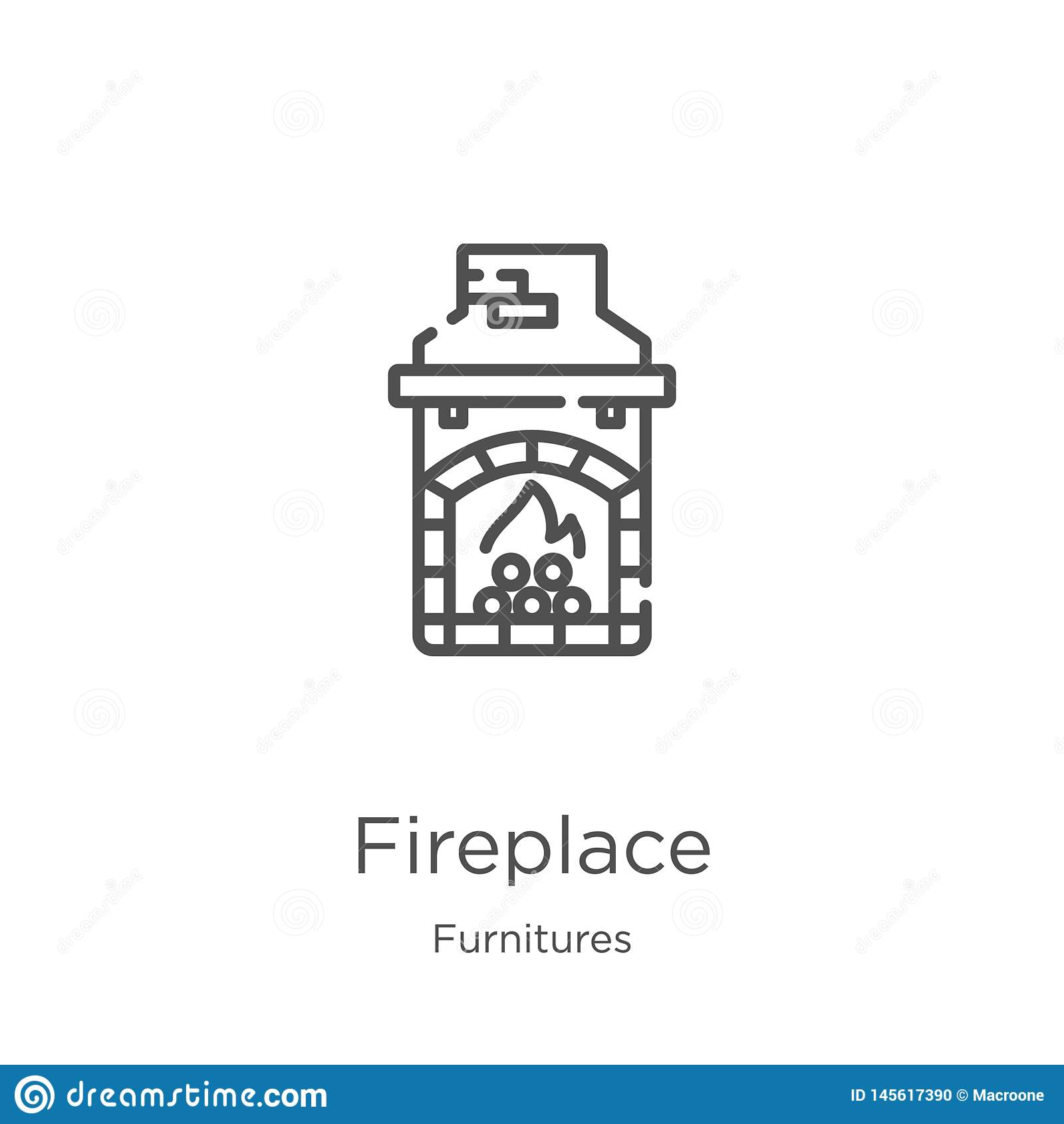 Vector del icono de la chimenea de la colección de los muebles L?nea fina ejemplo del vector del icono del esquema de la chimenea