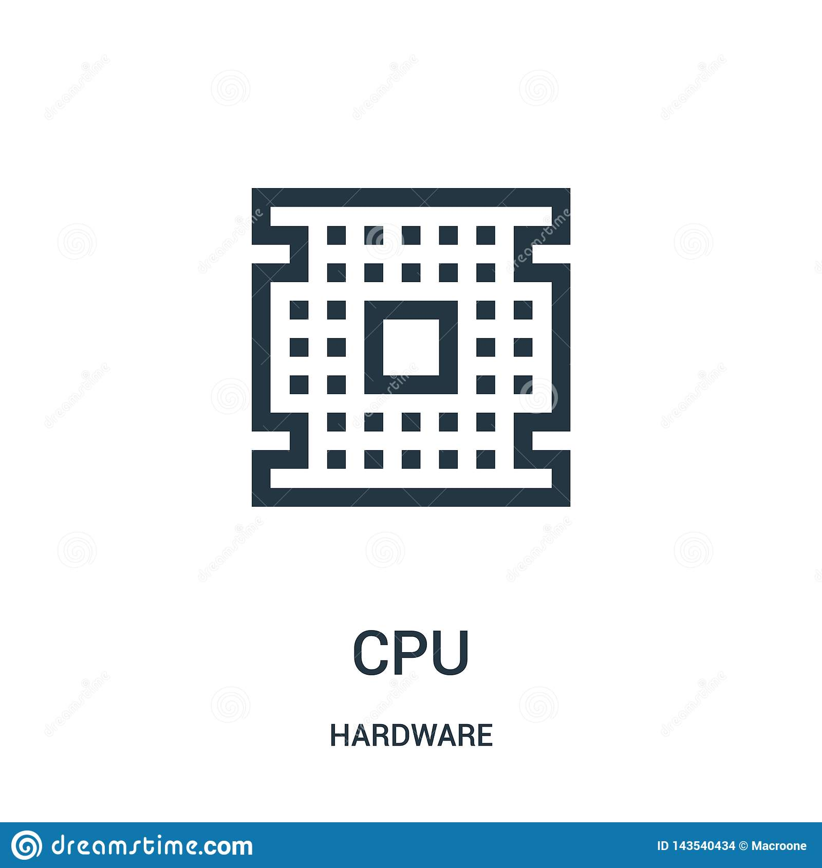 Vector del icono de la CPU de la colecci?n del hardware L?nea fina ejemplo del vector del icono del esquema de la CPU