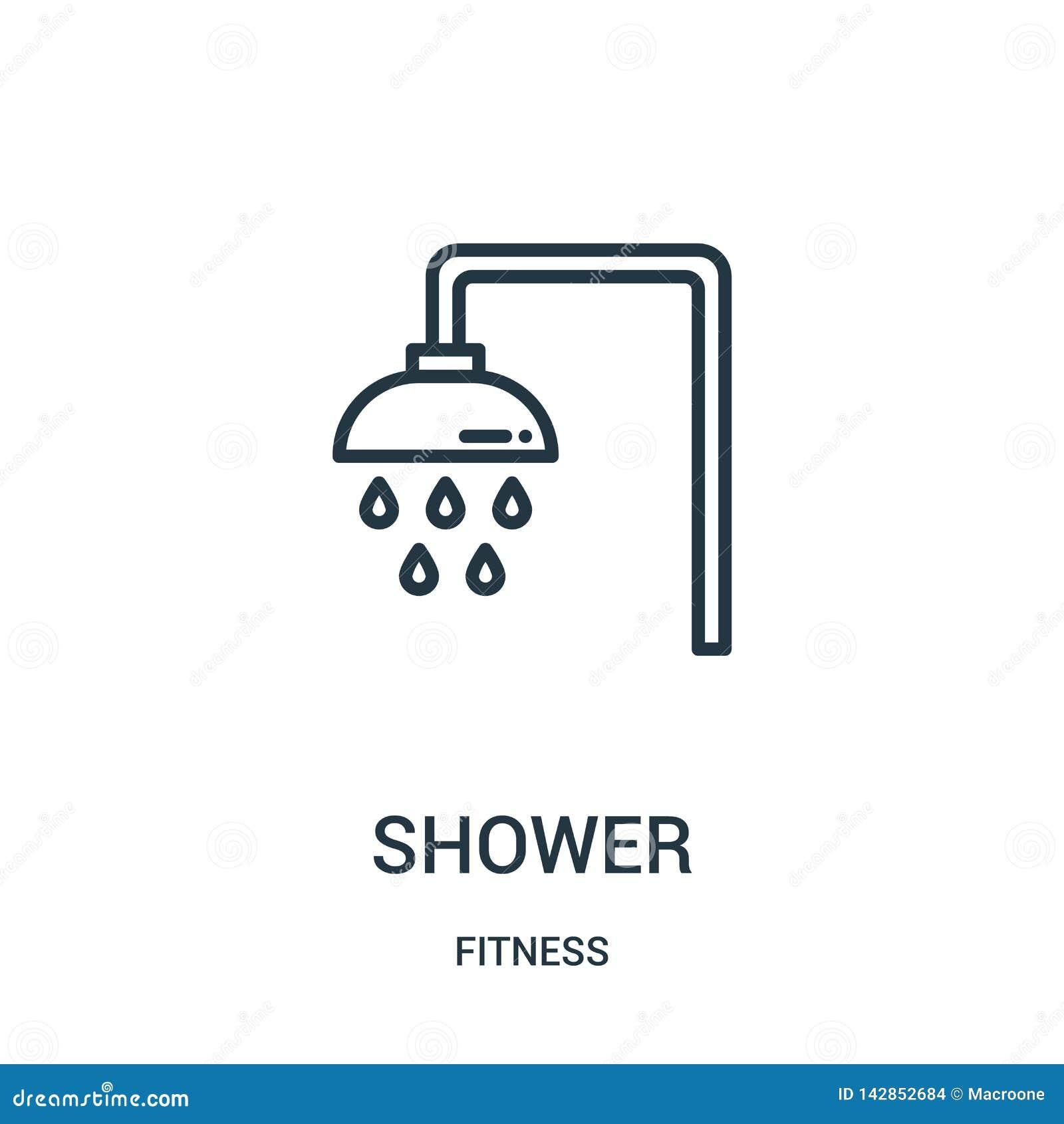 Vector del icono de la ducha de la colección de la aptitud Línea fina ejemplo del vector del icono del esquema de la ducha Símbol