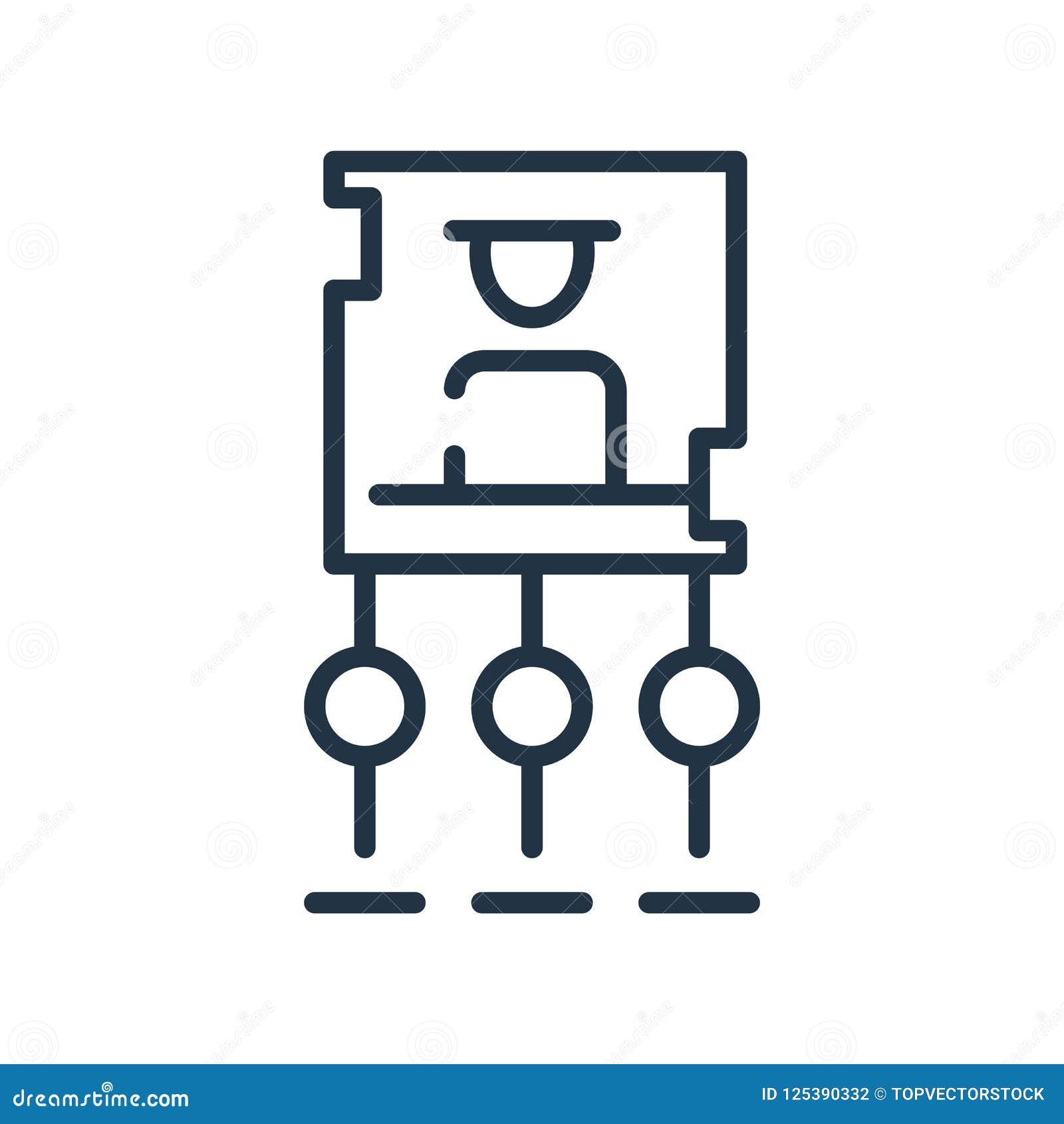 Vector del icono de la estructura jerárquica aislado en el fondo blanco,