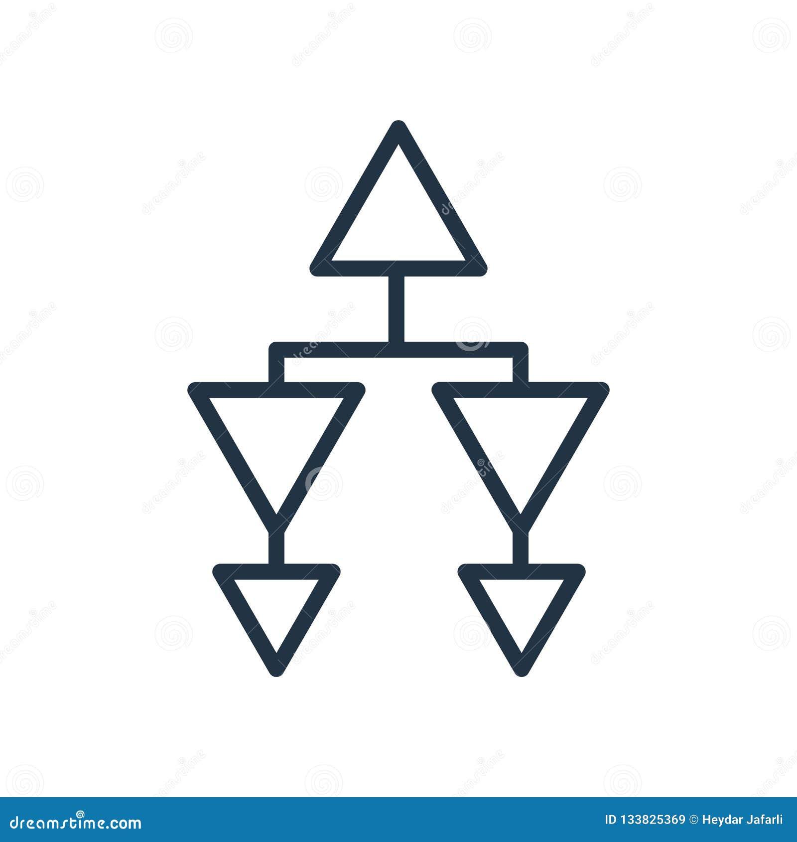 Vector del icono de la estructura jerárquica aislado en el fondo blanco