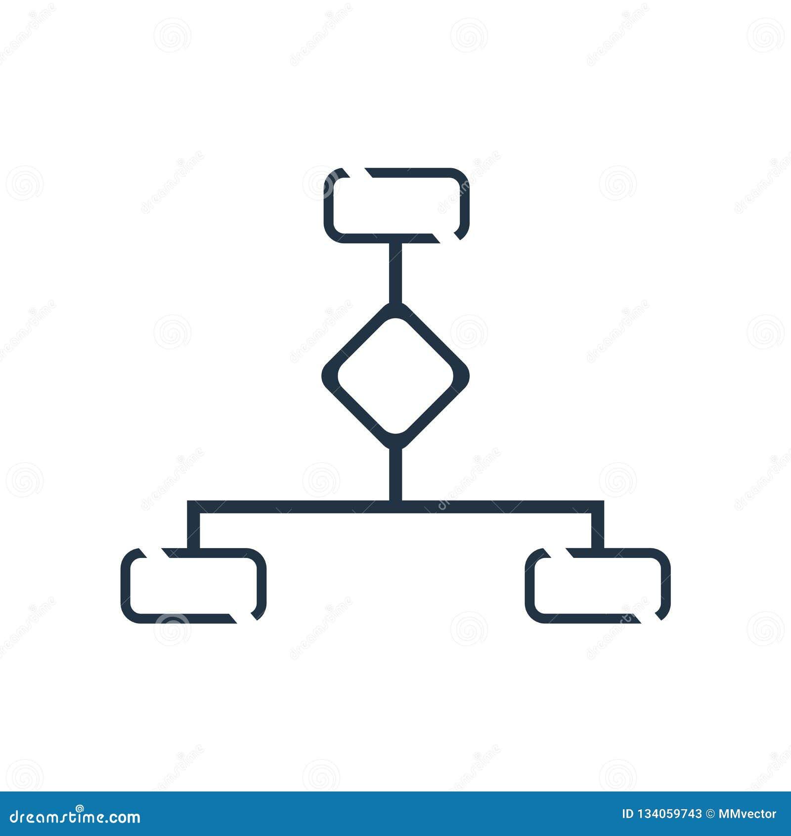 Vector del icono de la estructura jerárquica aislado en el fondo blanco, muestra de la estructura jerárquica