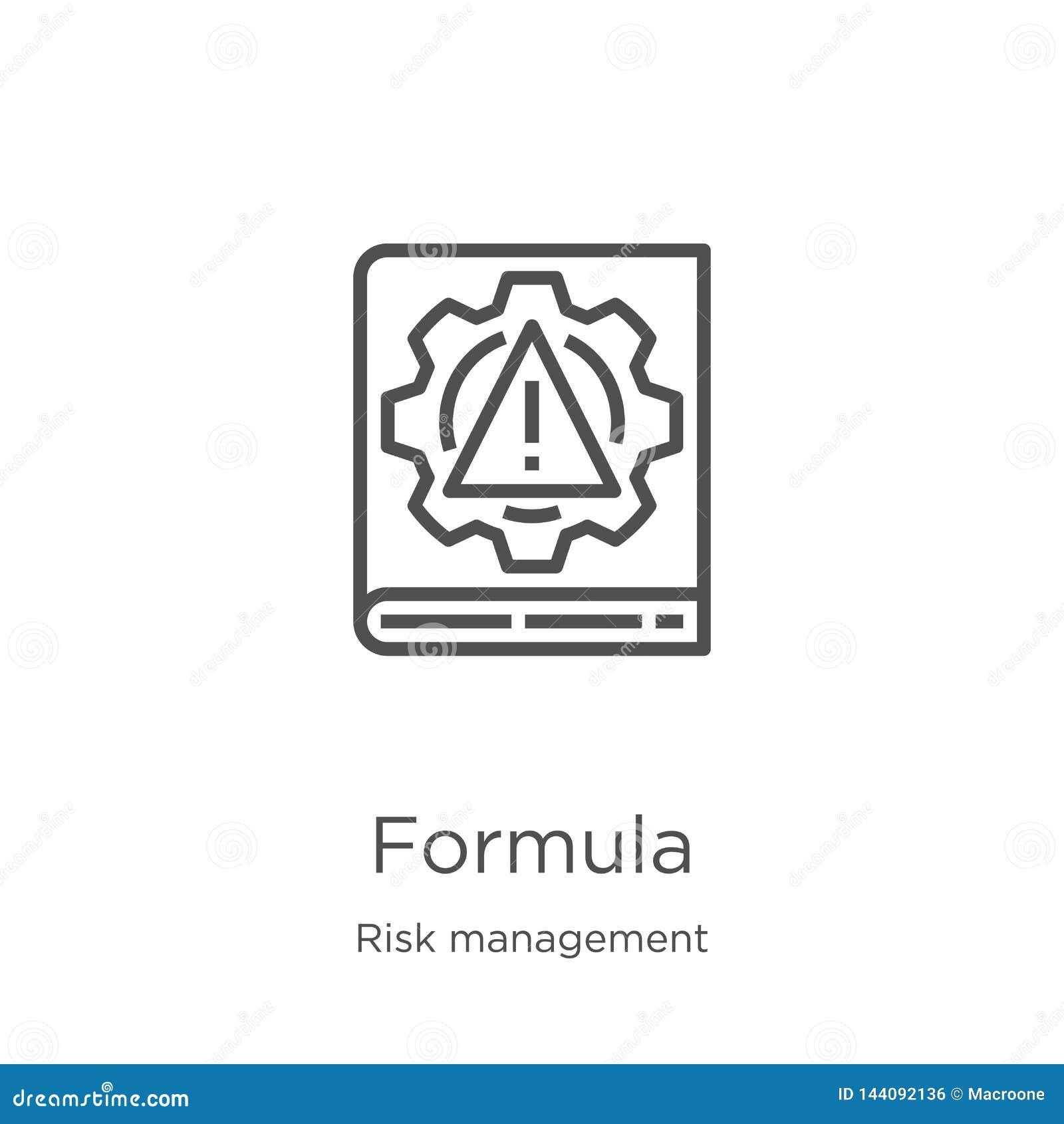 Vector del icono de la fórmula de la colección de la gestión de riesgos L?nea fina ejemplo del vector del icono del esquema de la