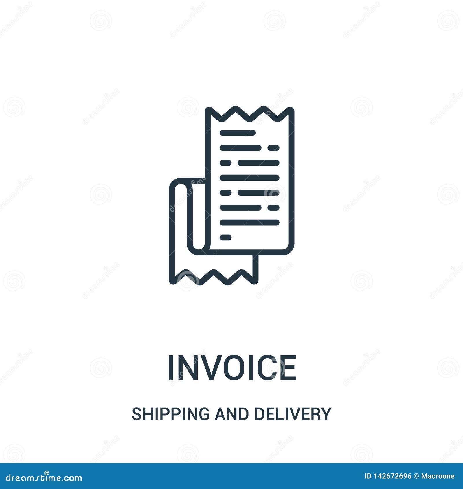 Vector del icono de la factura de la colección del envío y de la entrega Línea fina ejemplo del vector del icono del esquema de l
