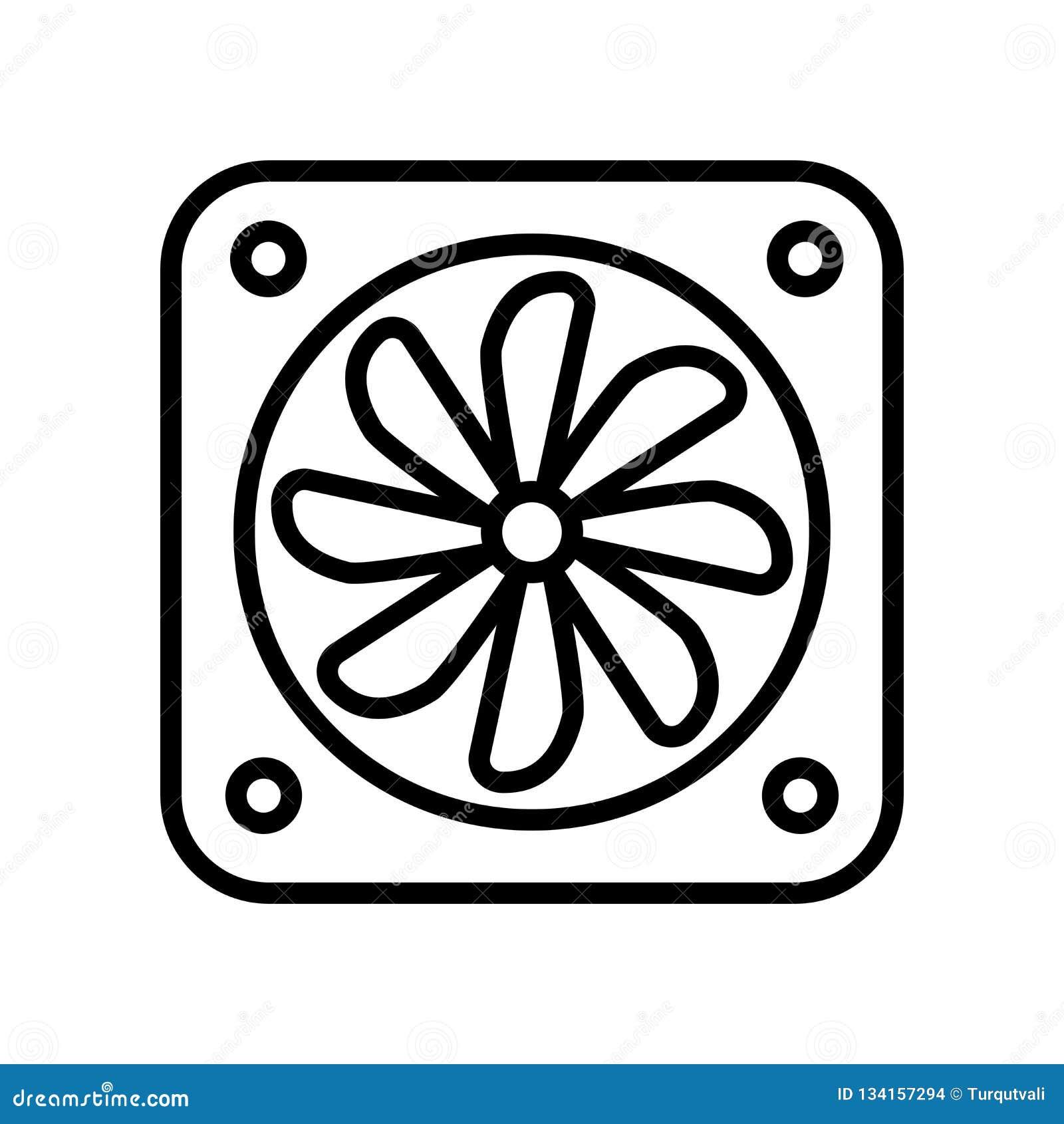 Vector del icono de la fan aislado en el fondo, la muestra de la fan, la línea y los elementos blancos del esquema en estilo line