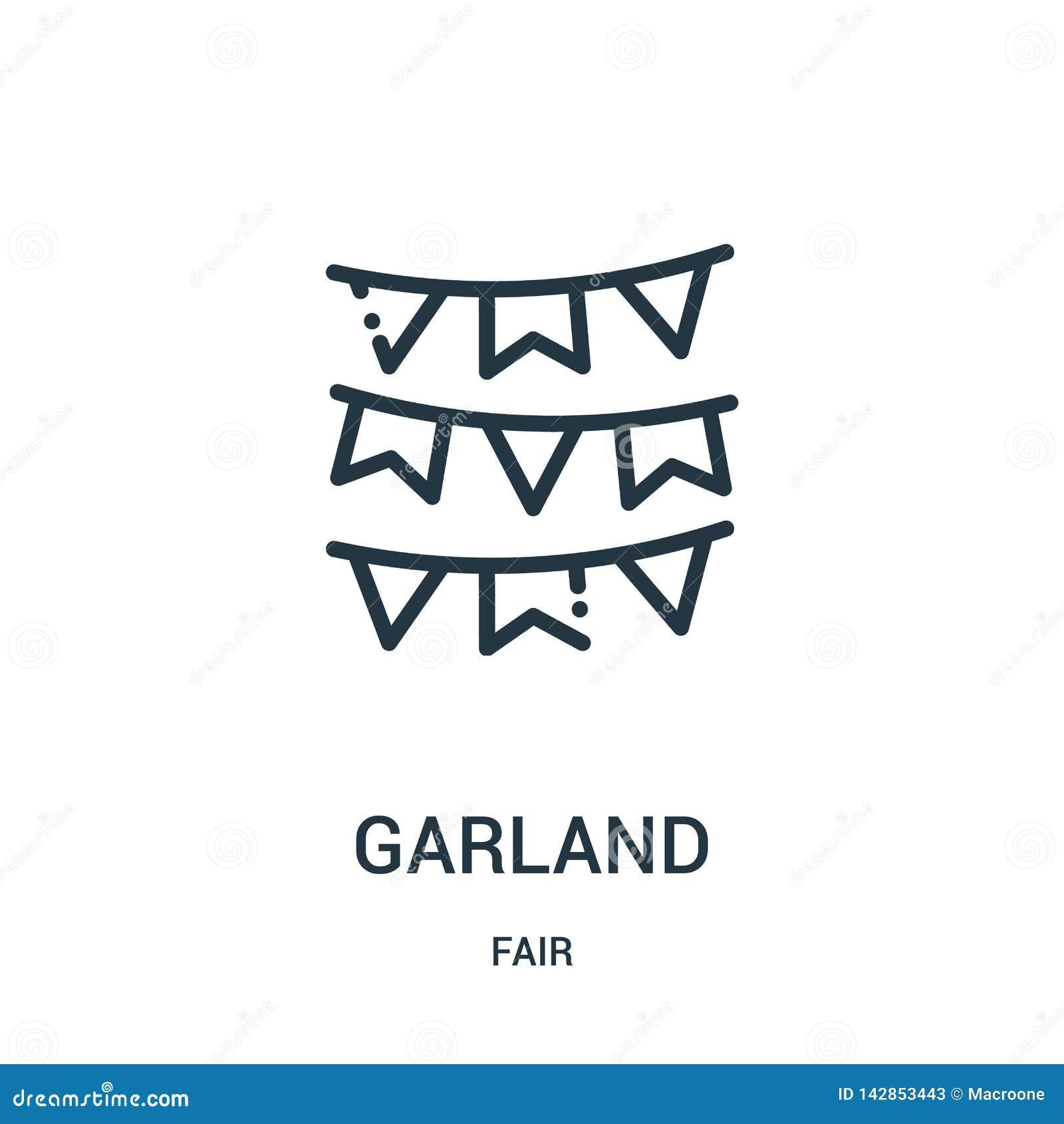 Vector del icono de la guirnalda de la colección justa Línea fina ejemplo del vector del icono del esquema de la guirnalda Símbol