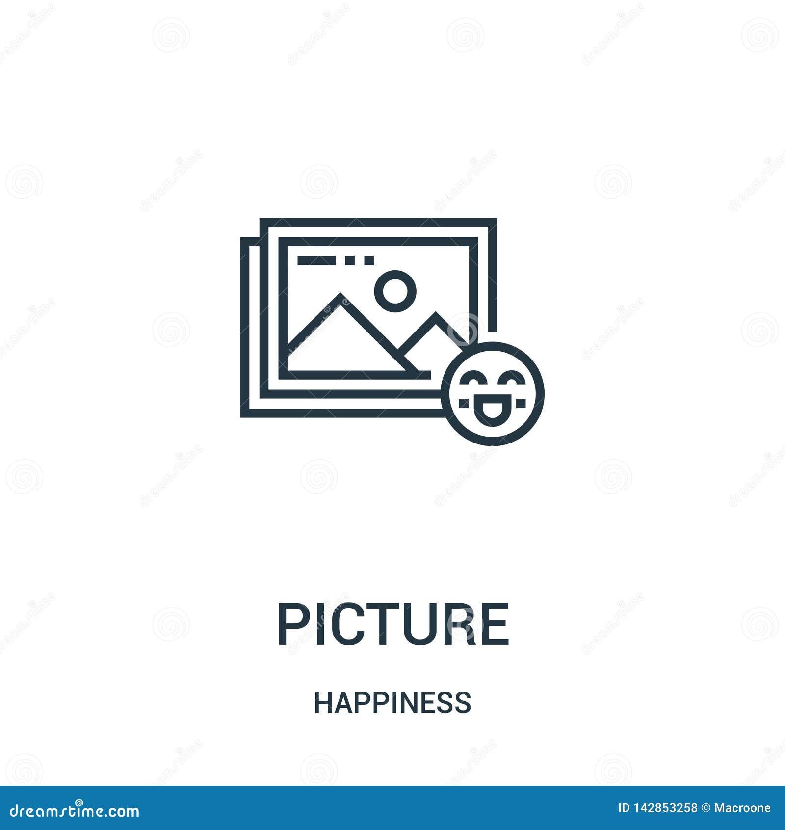 Vector del icono de la imagen de la colección de la felicidad Línea fina ejemplo del vector del icono del esquema de la imagen Sí