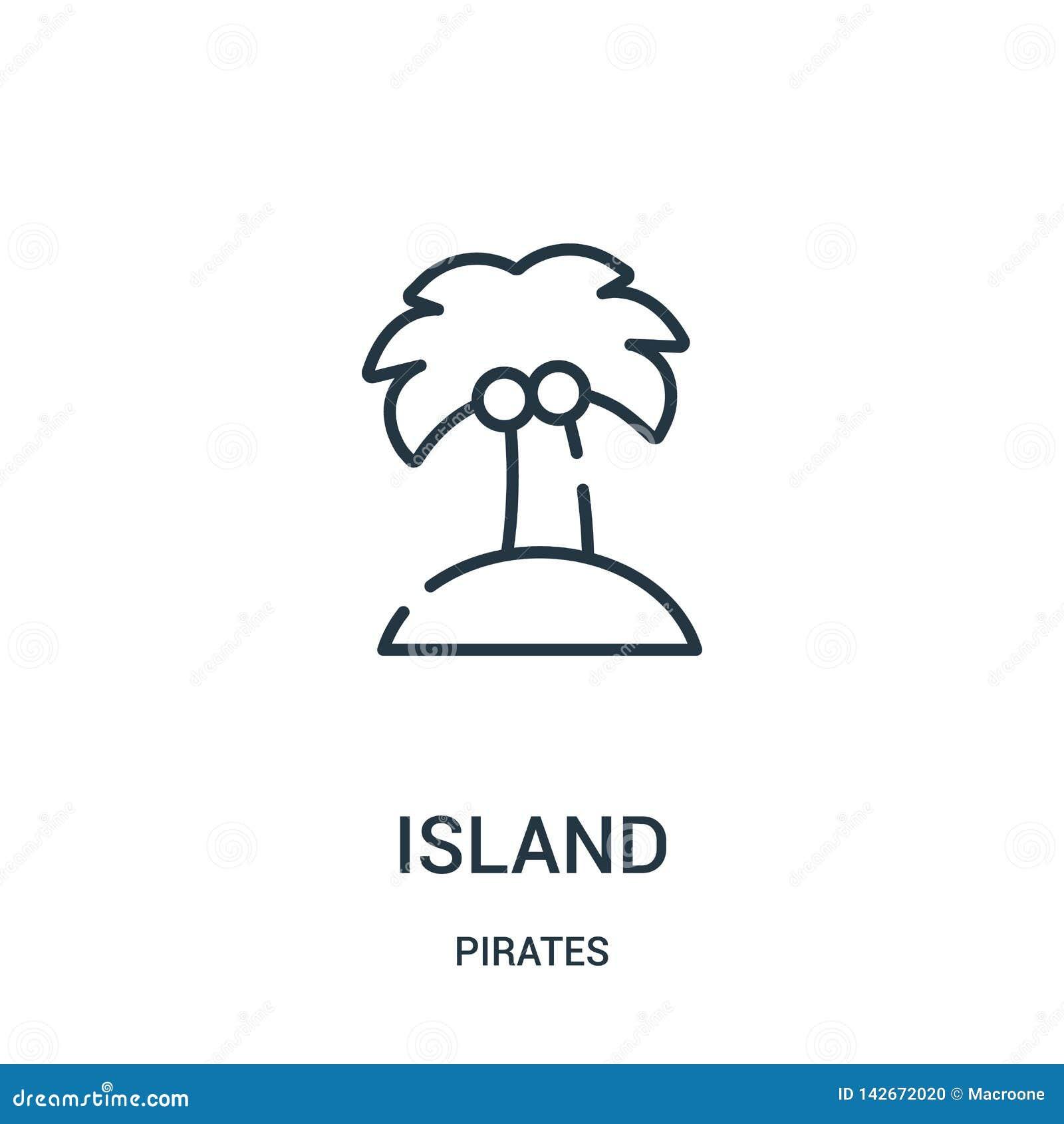 Vector del icono de la isla de la colección de los piratas Línea fina ejemplo del vector del icono del esquema de la isla Símbolo