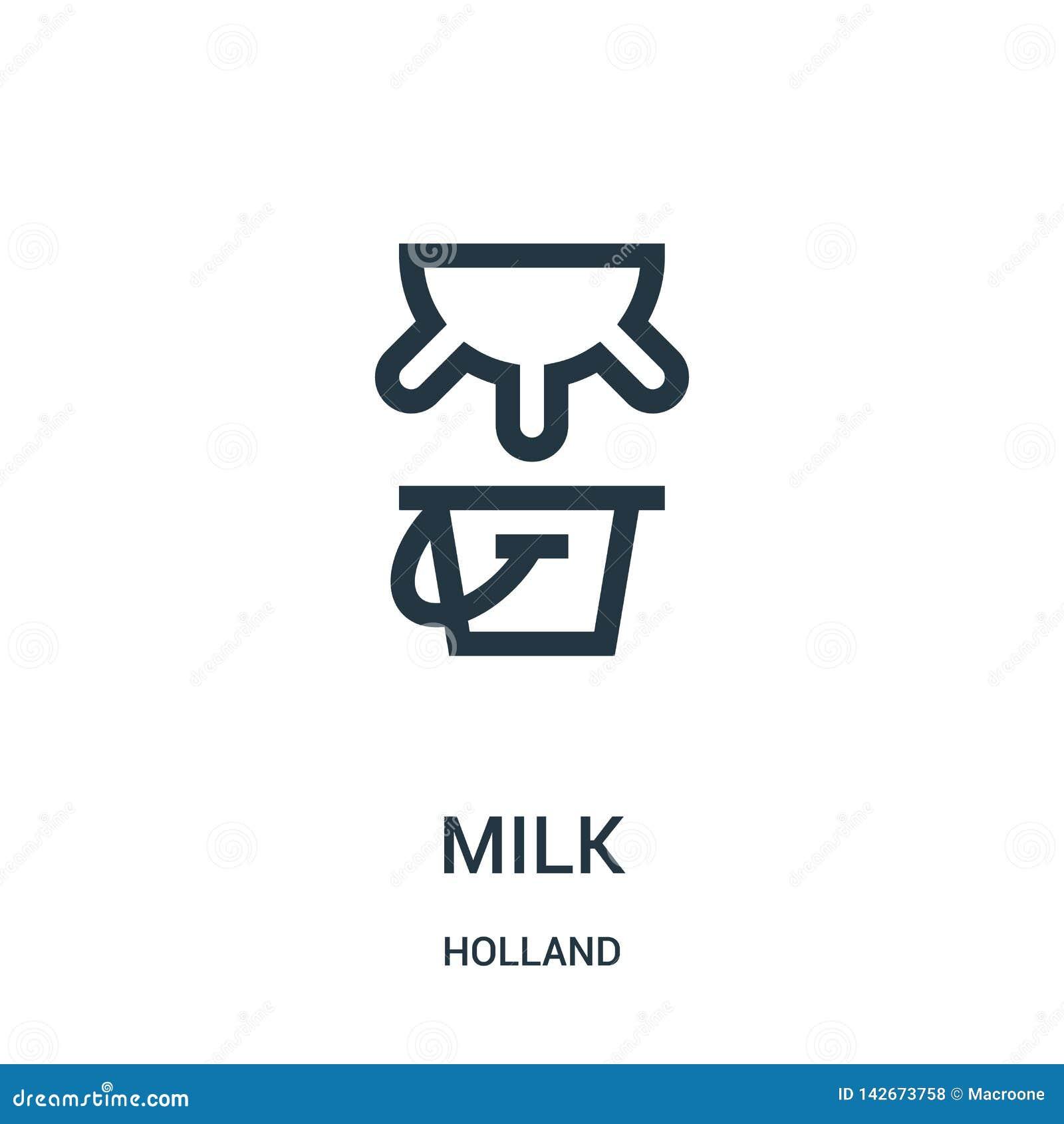 Vector del icono de la leche de la colección de Holanda Línea fina ejemplo del vector del icono del esquema de la leche Símbolo l