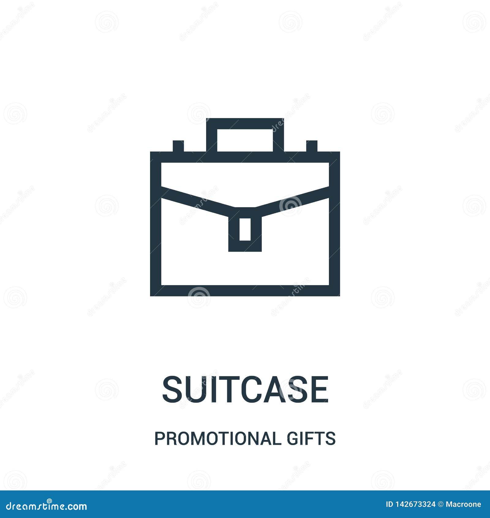 Vector del icono de la maleta de la colección promocional de los regalos Línea fina ejemplo del vector del icono del esquema de l