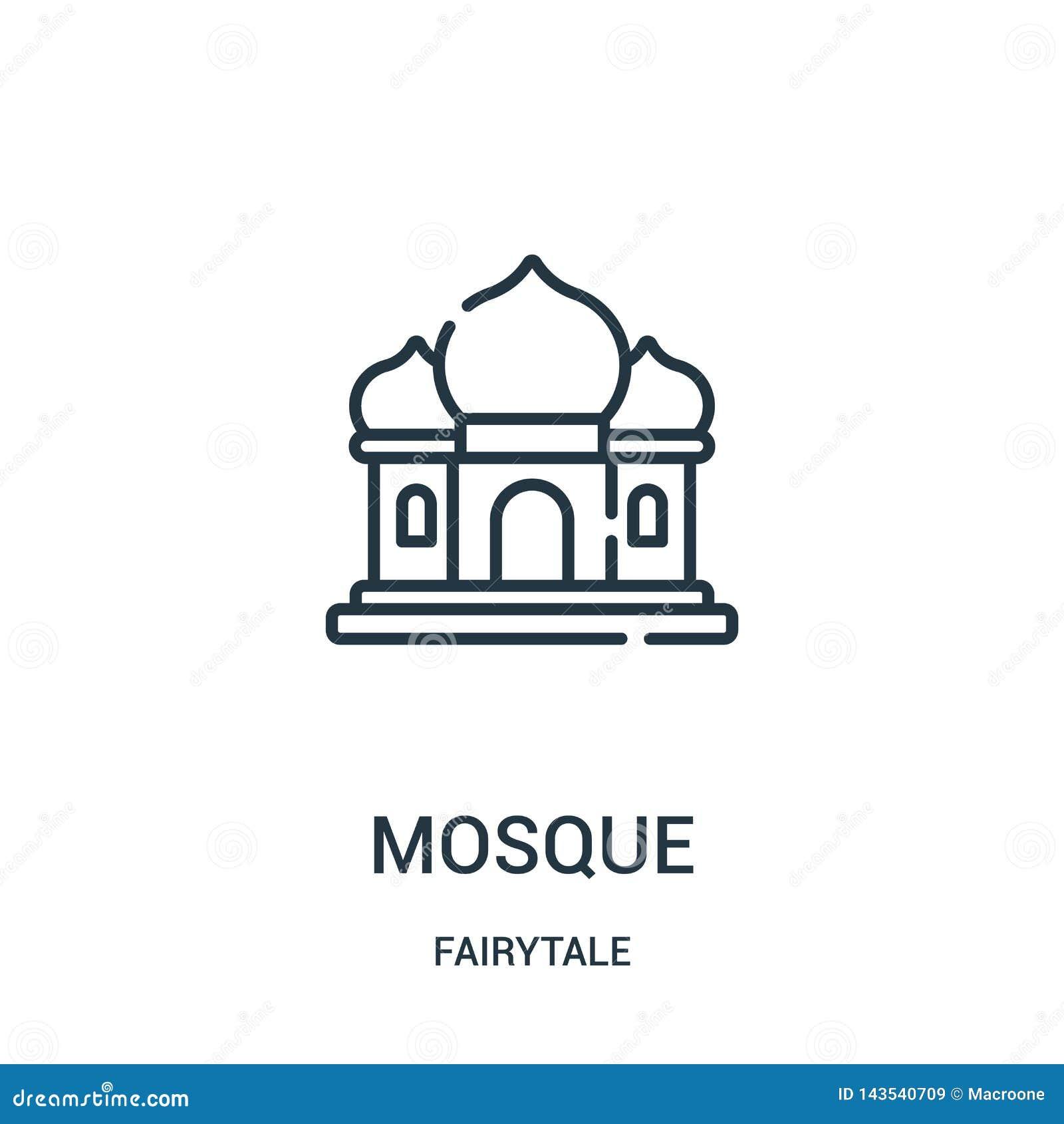 Vector del icono de la mezquita de la colección del cuento de hadas Línea fina ejemplo del vector del icono del esquema de la mez