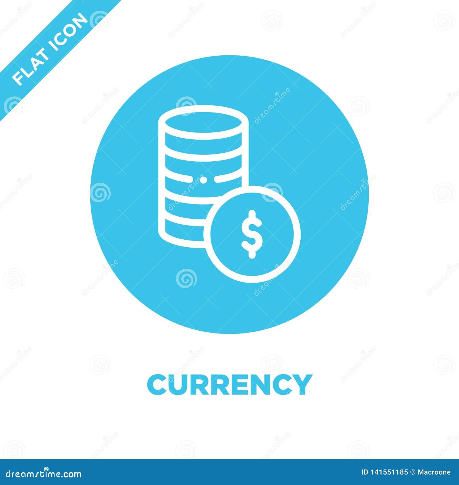 Vector del icono de la moneda Línea fina ejemplo del vector del icono del esquema de la moneda símbolo de moneda para el uso en l