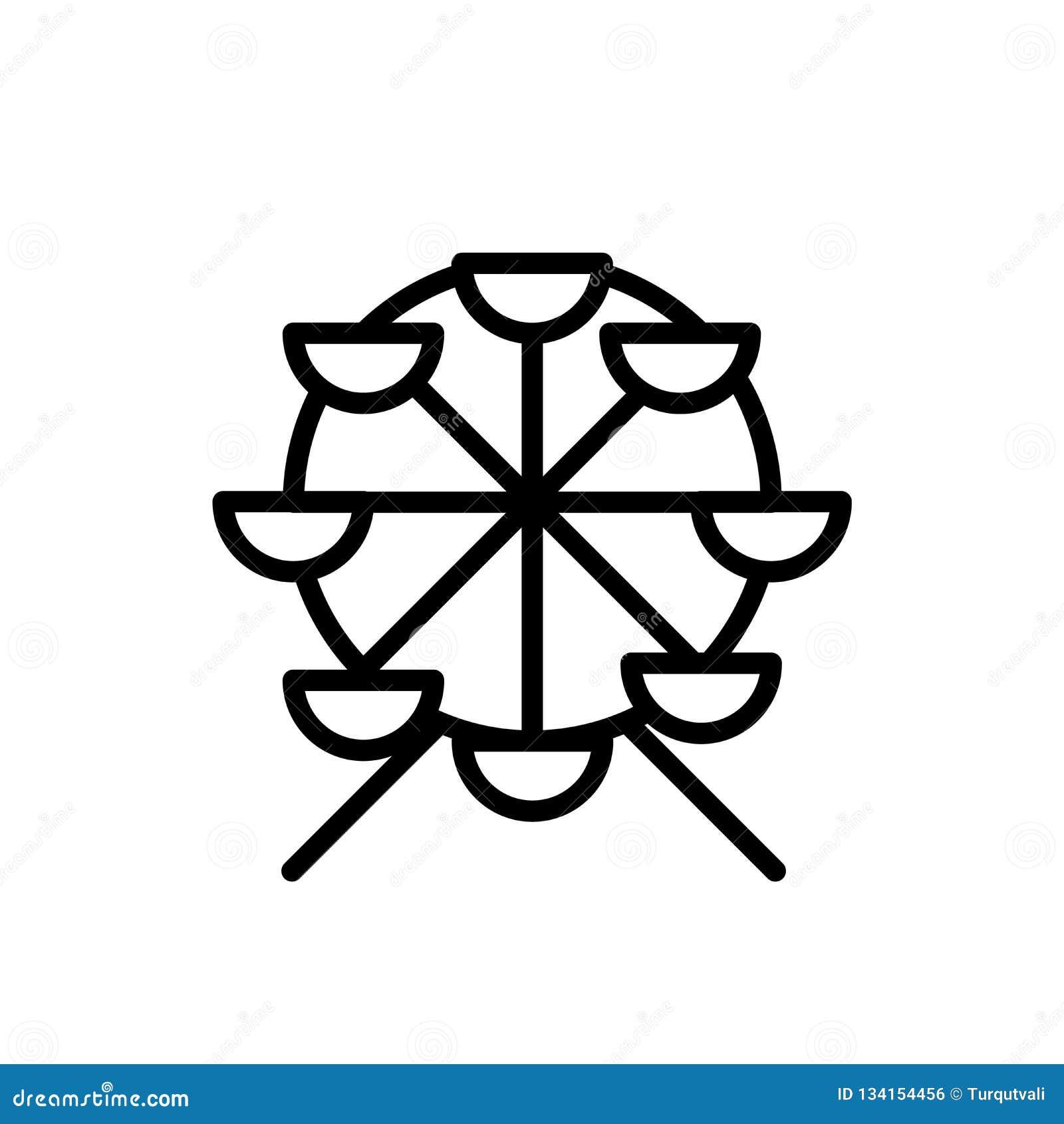 Vector del icono de la noria aislado en el fondo blanco, la muestra de la noria, la línea o la muestra linear, diseño del element