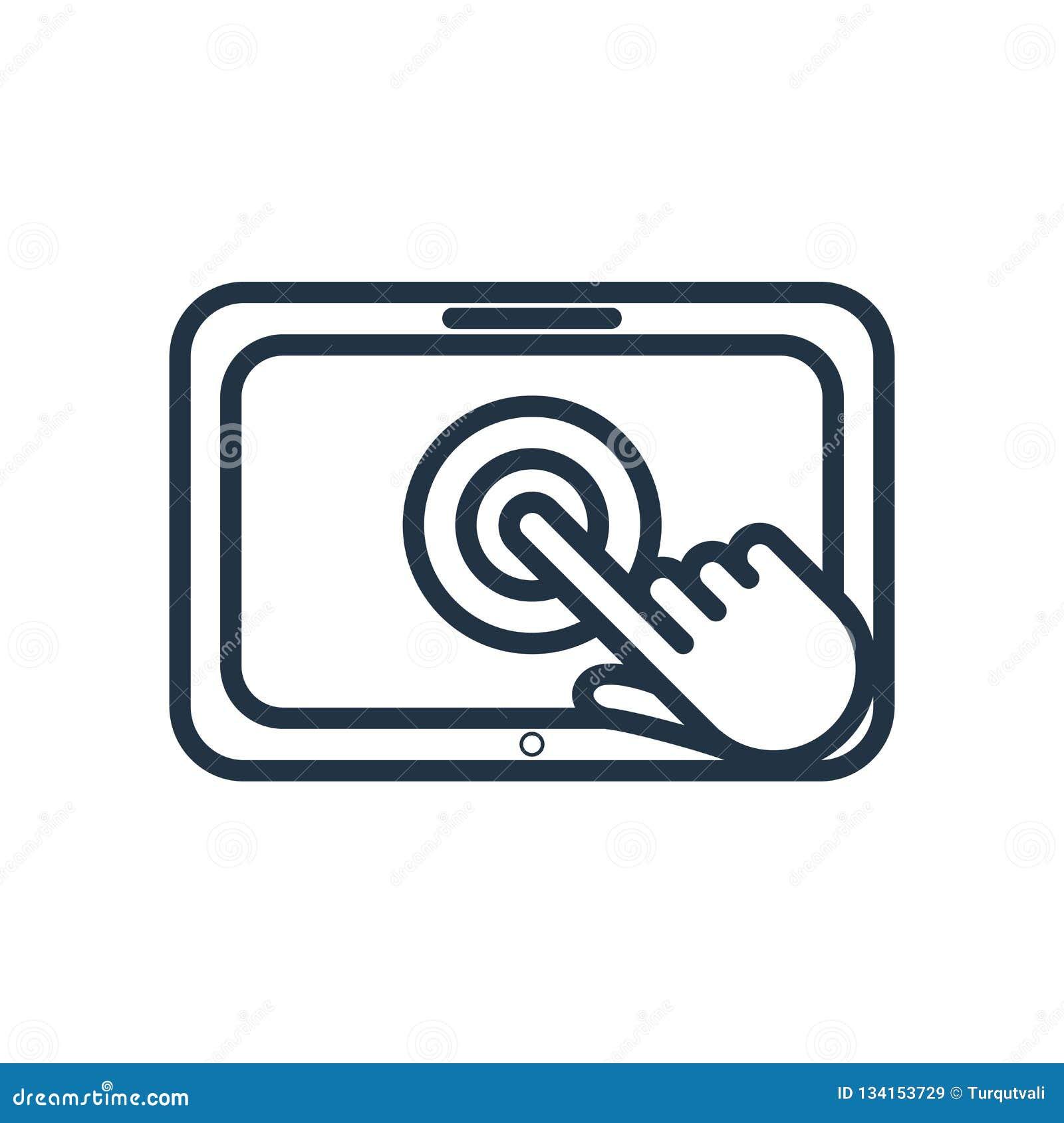 Vector del icono de la pantalla táctil aislado en el fondo blanco, muestra de la pantalla táctil