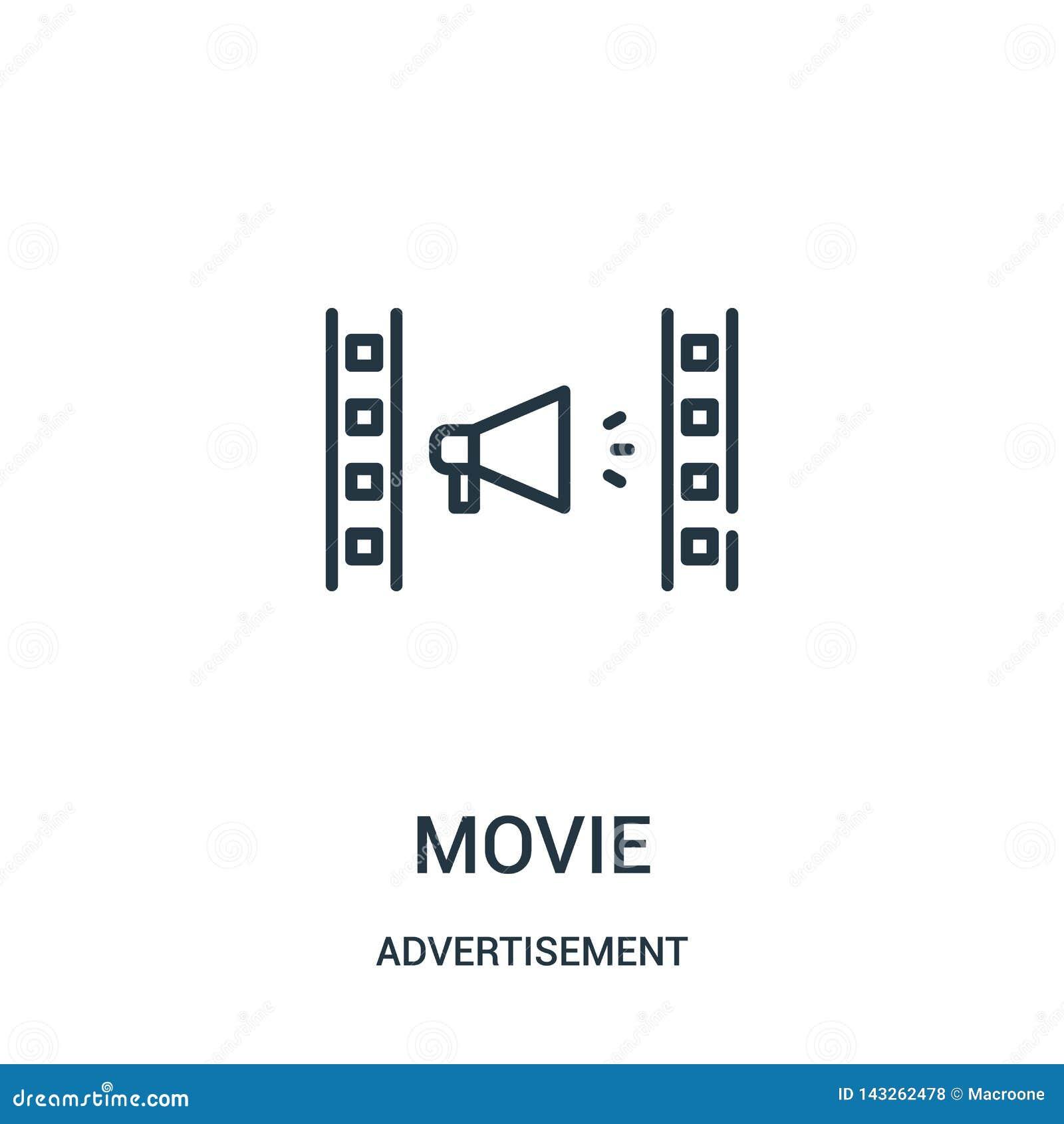 Vector del icono de la película de la colección del anuncio Línea fina ejemplo del vector del icono del esquema de la película