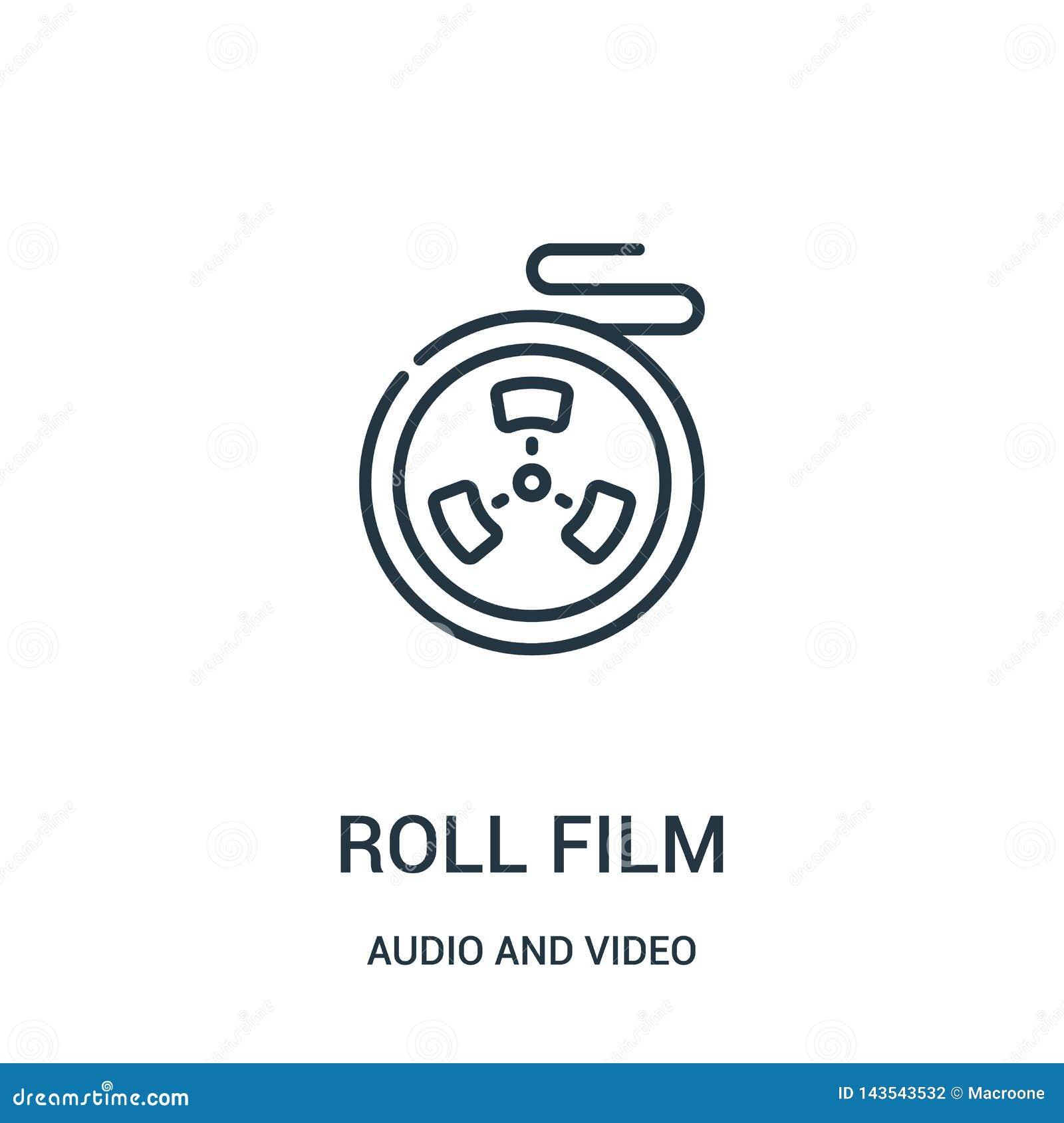 Vector del icono de la película de rollo de la colección audio y video Línea fina ejemplo del vector del icono del esquema de la