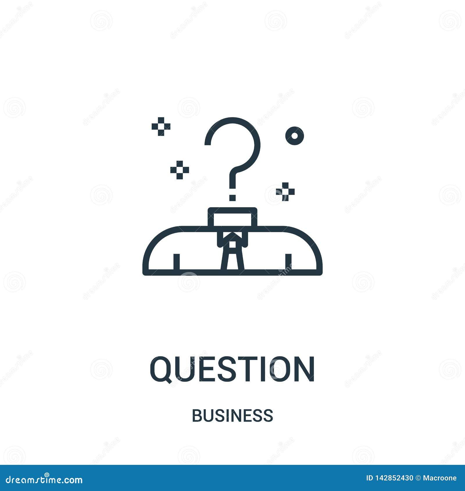 Vector del icono de la pregunta de la colección del negocio Línea fina ejemplo del vector del icono del esquema de la pregunta Sí
