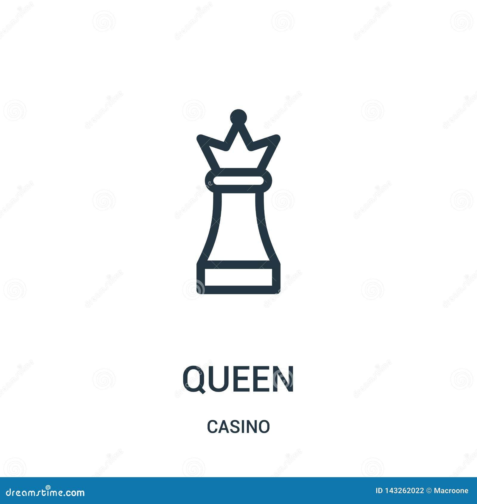 Vector del icono de la reina de la colección del casino L?nea fina ejemplo del vector del icono del esquema de la reina