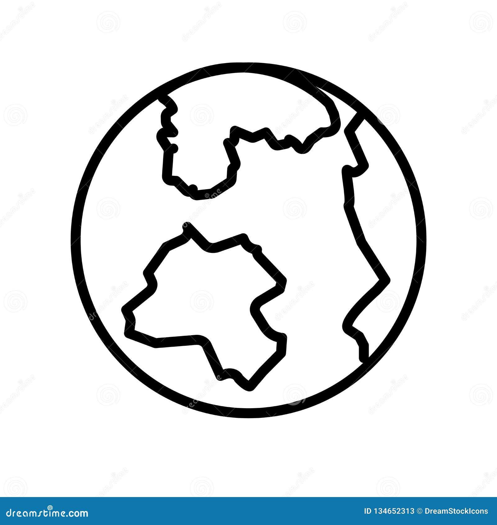 Vector del icono de la rejilla de la tierra aislado en la muestra blanca del fondo, de la rejilla de la tierra, la línea o la mue