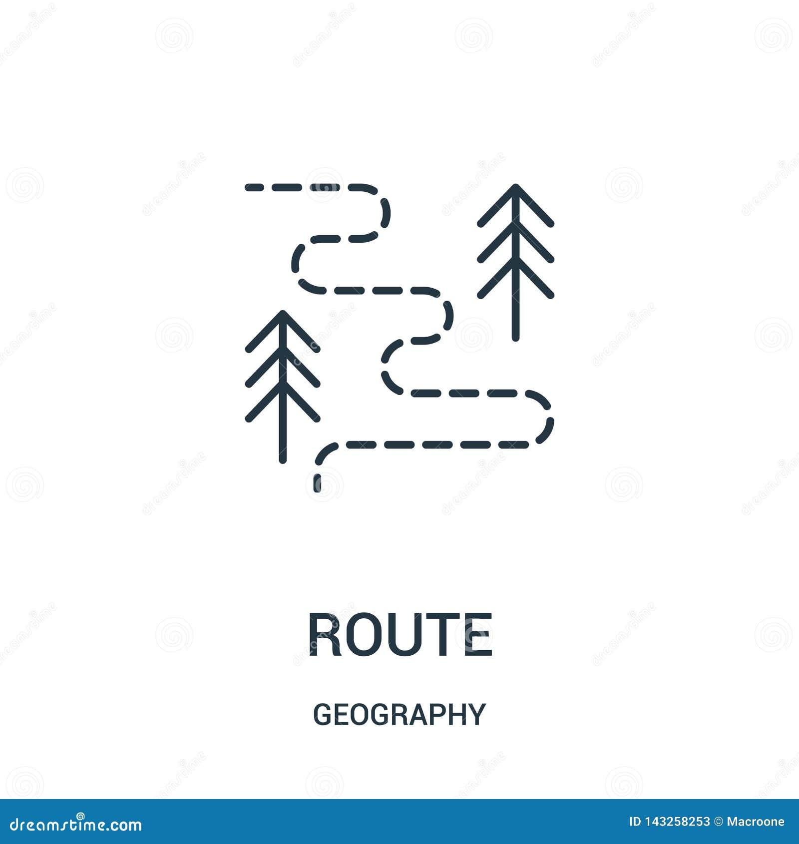 Vector del icono de la ruta de la colección de la geografía L?nea fina ejemplo del vector del icono del esquema de la ruta