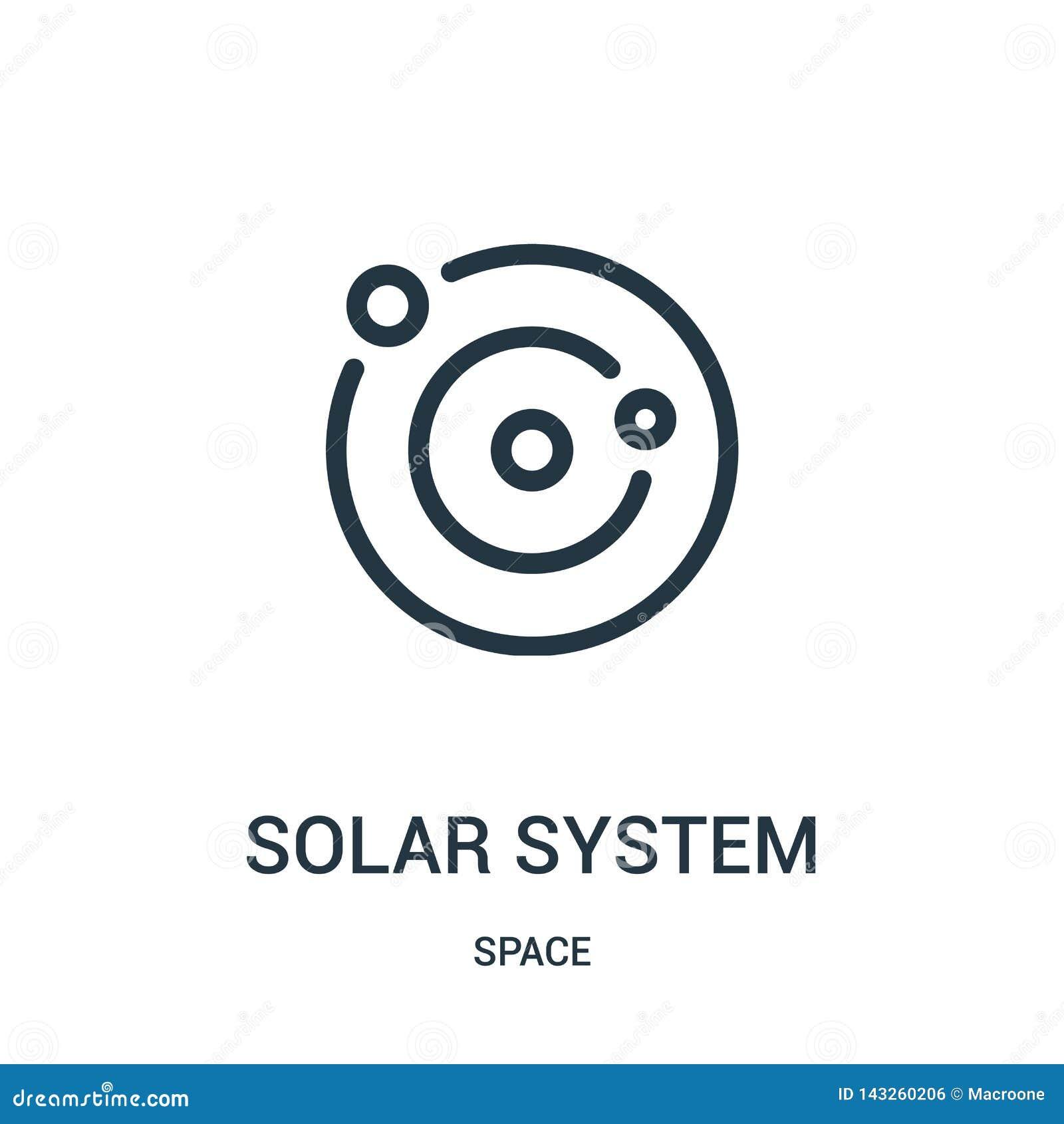 Vector del icono de la Sistema Solar de la colección del espacio Línea fina ejemplo del vector del icono del esquema de la Sistem