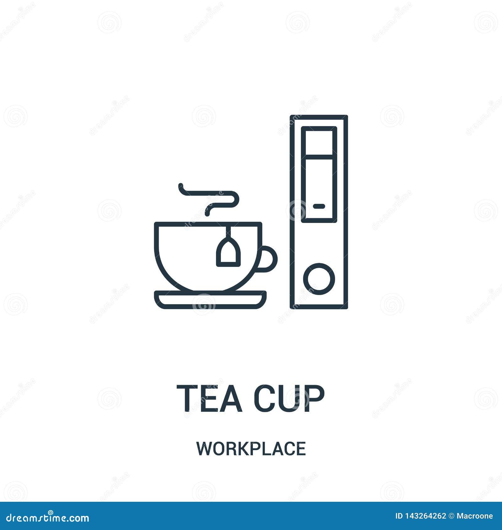 Vector del icono de la taza de t? de la colecci?n del lugar de trabajo L?nea fina ejemplo del vector del icono del esquema de la