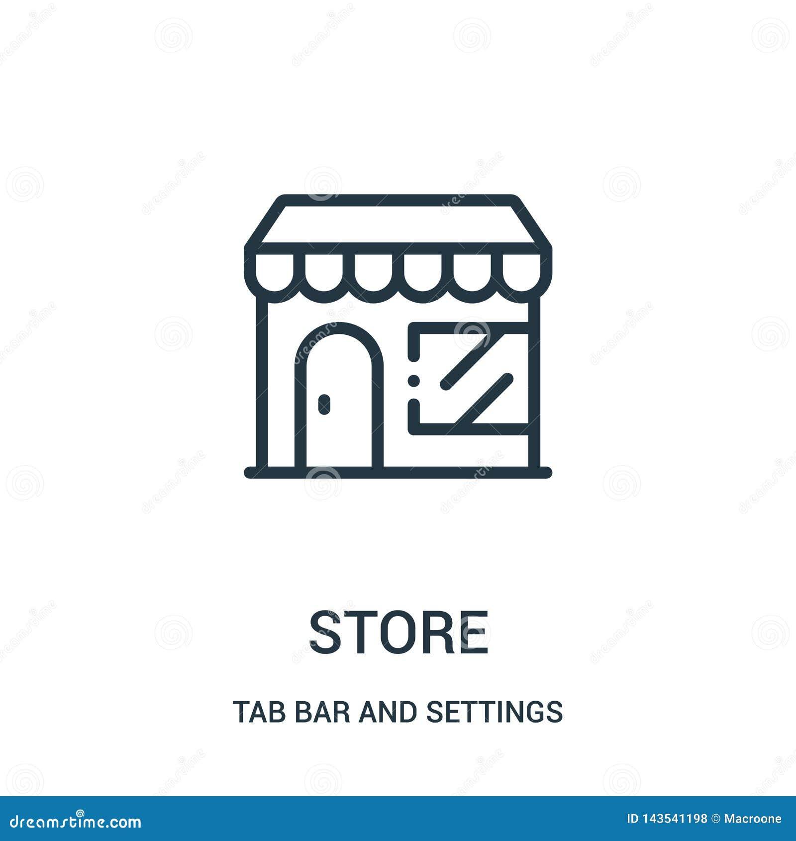 Vector del icono de la tienda de la barra de la etiqueta y de la colección de los ajustes Línea fina ejemplo del vector del icono