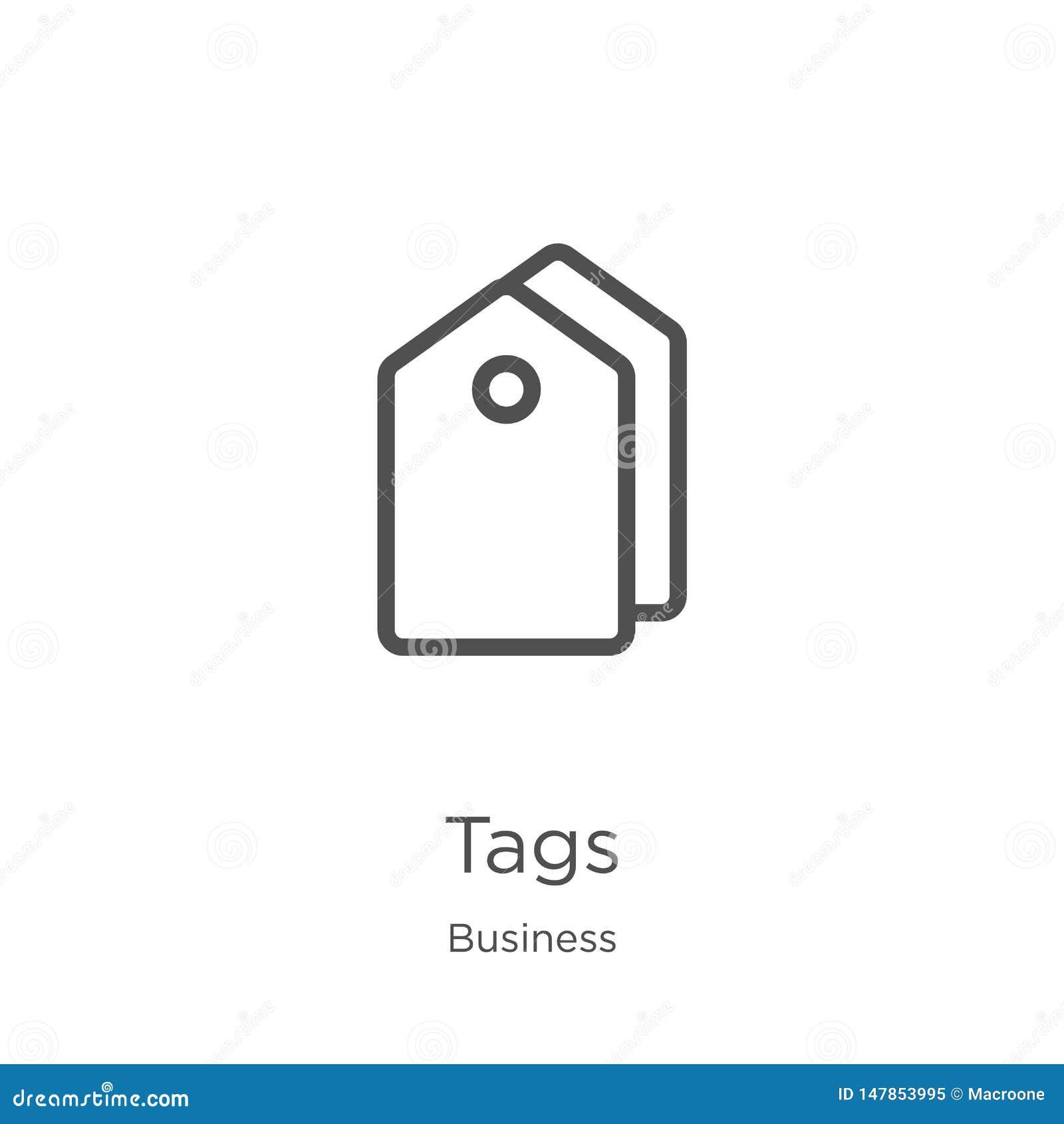 Vector del icono de las etiquetas de la colecci?n del negocio La l?nea fina marca el ejemplo del vector con etiqueta del icono de