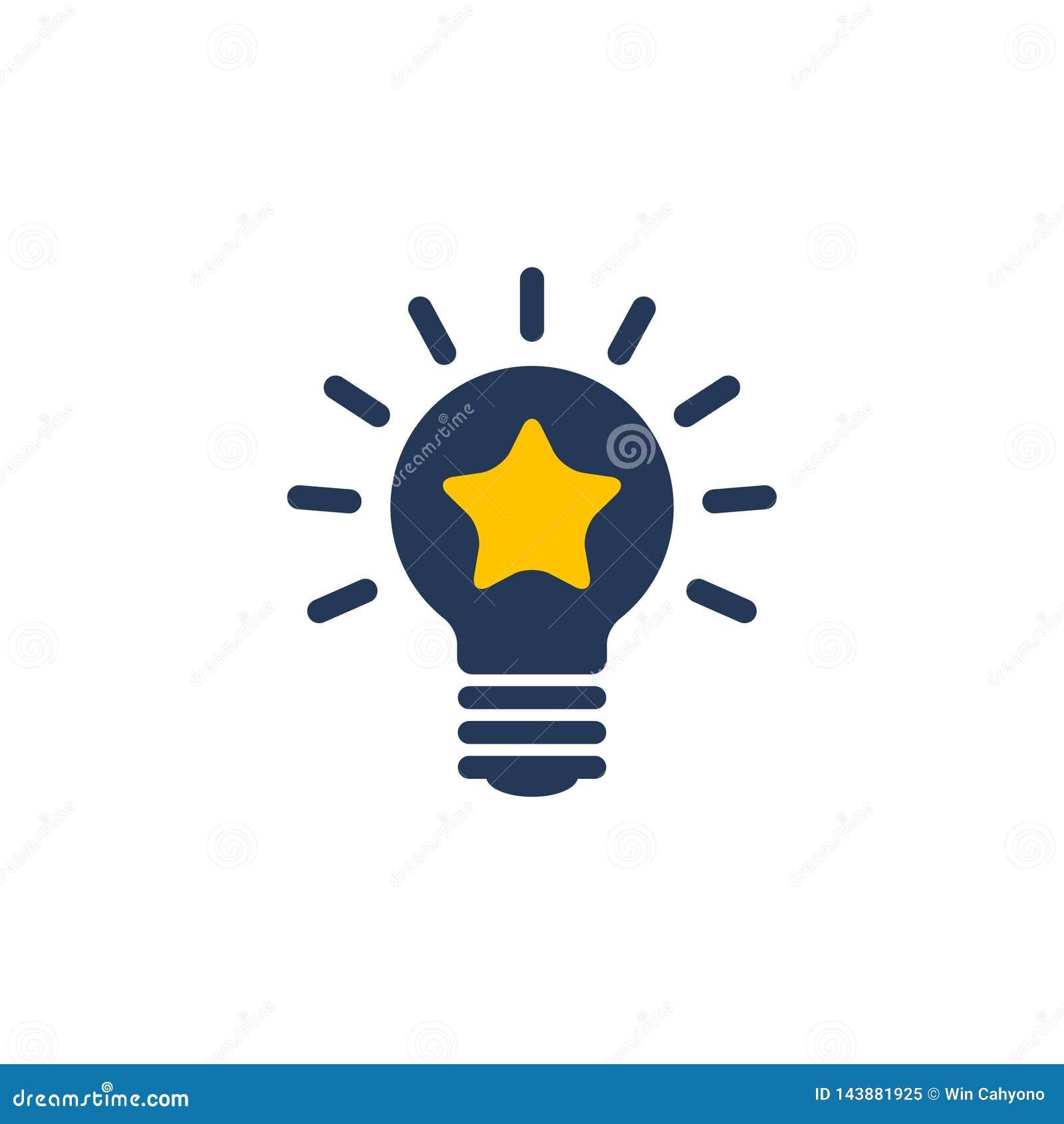 Vector del icono de las ideas de la bombilla