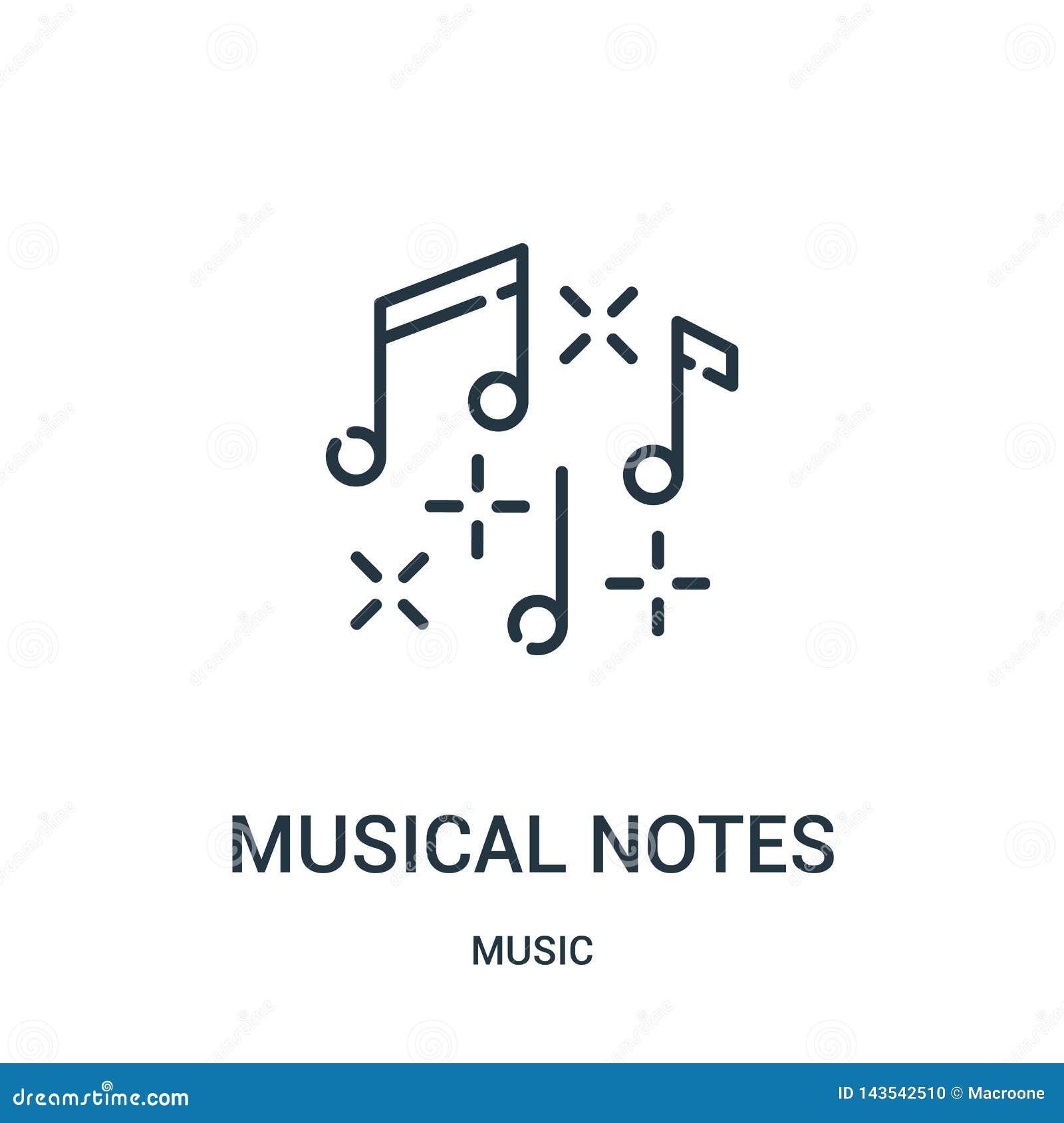 Vector del icono de las notas musicales de la colección de música Línea fina ejemplo del vector del icono del esquema de las nota