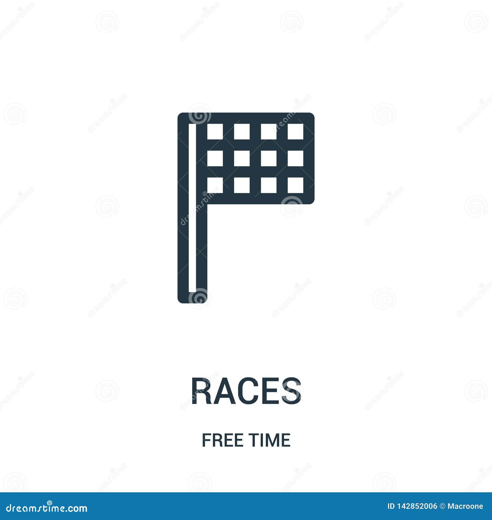 Vector del icono de las razas de la colección del tiempo libre Línea fina ejemplo del vector del icono del esquema de las razas S
