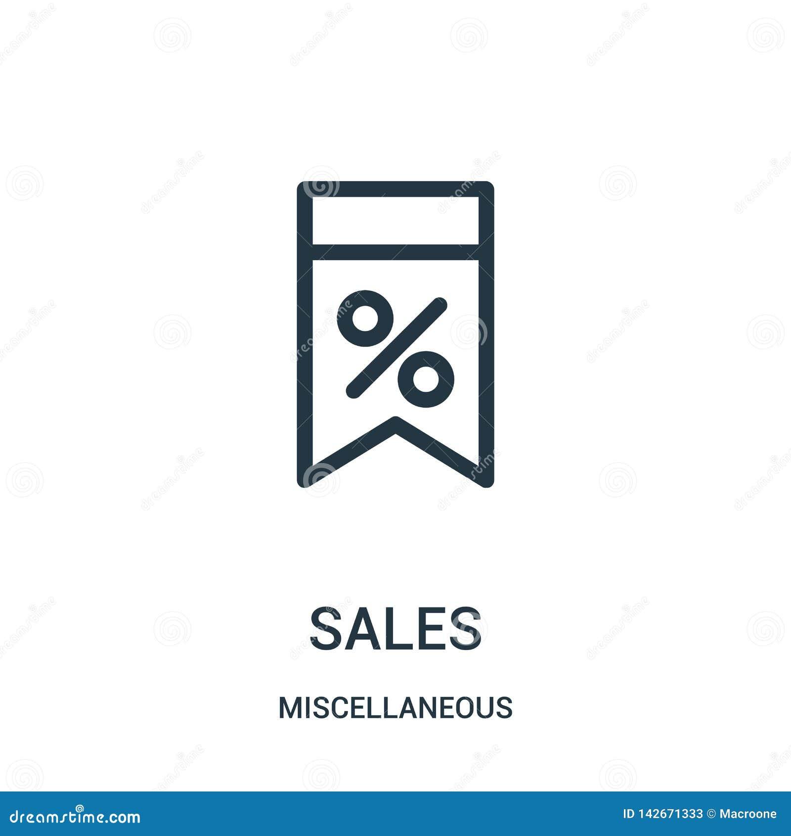 Vector del icono de las ventas de la colección diversa Línea fina ejemplo del vector del icono del esquema de las ventas Símbolo