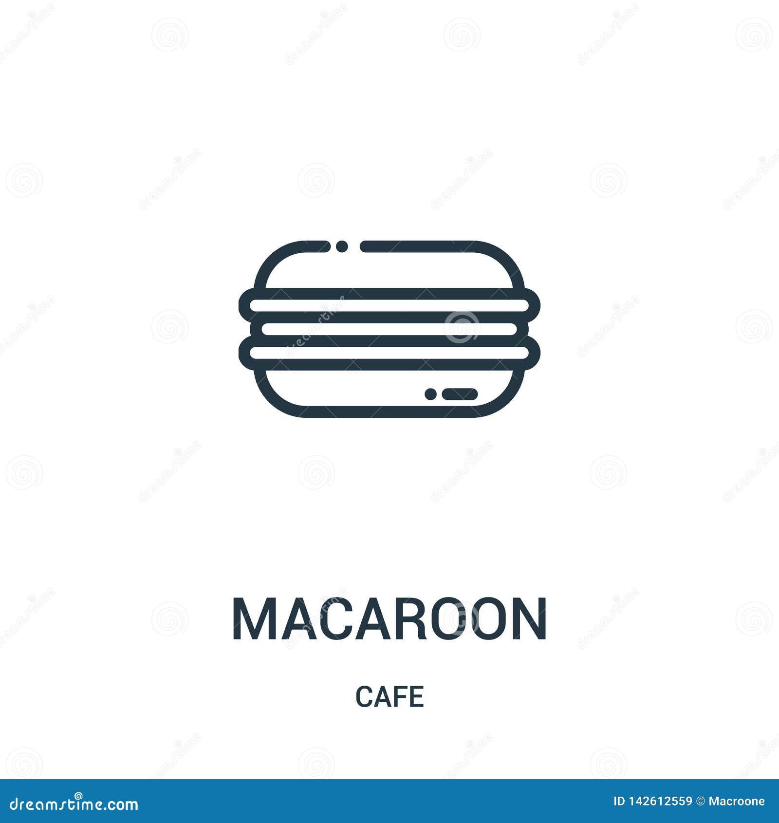 Vector del icono de los macarrones de la colección del café Línea fina ejemplo del vector del icono del esquema de los macarrones