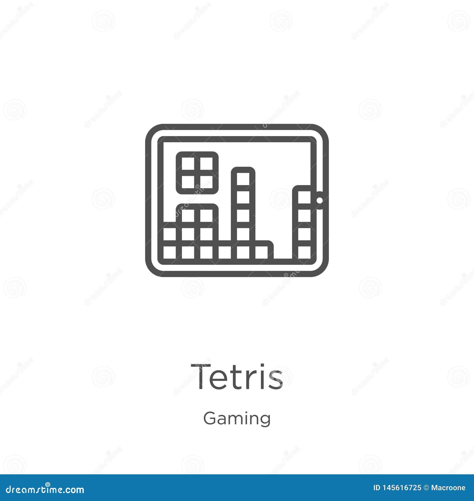 Vector del icono de los tetris de la colección del juego Línea fina ejemplo del vector del icono del esquema de los tetris Esquem