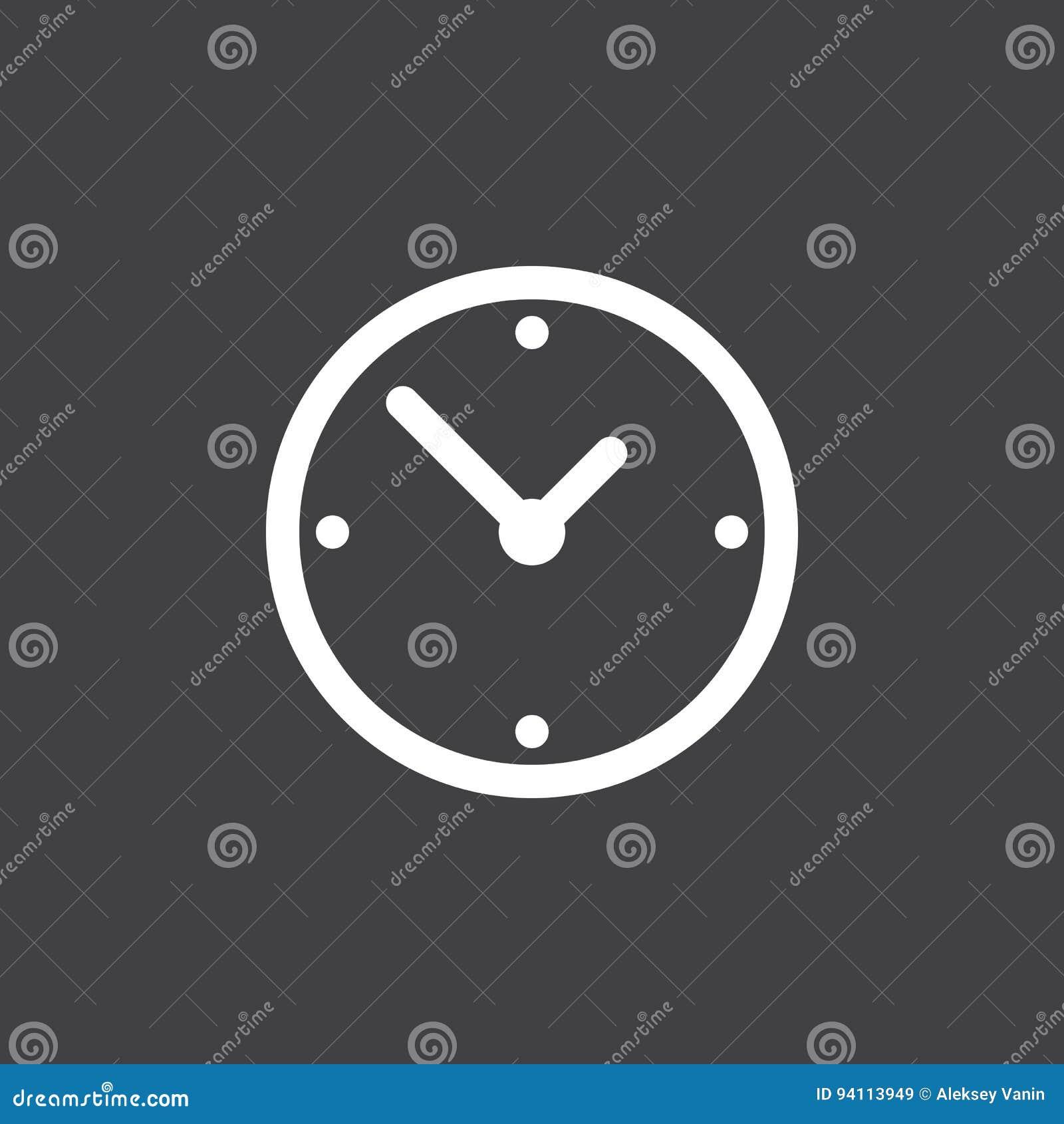 Vector del icono del reloj aislado en negro