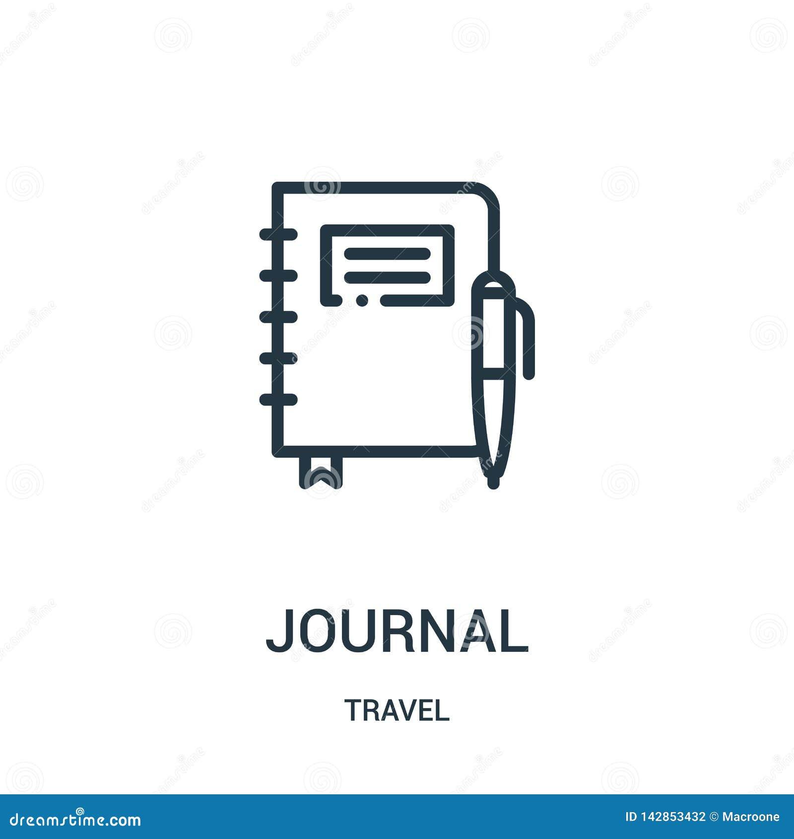 Vector del icono del diario de la colección del viaje Línea fina ejemplo del vector del icono del esquema del diario Símbolo line