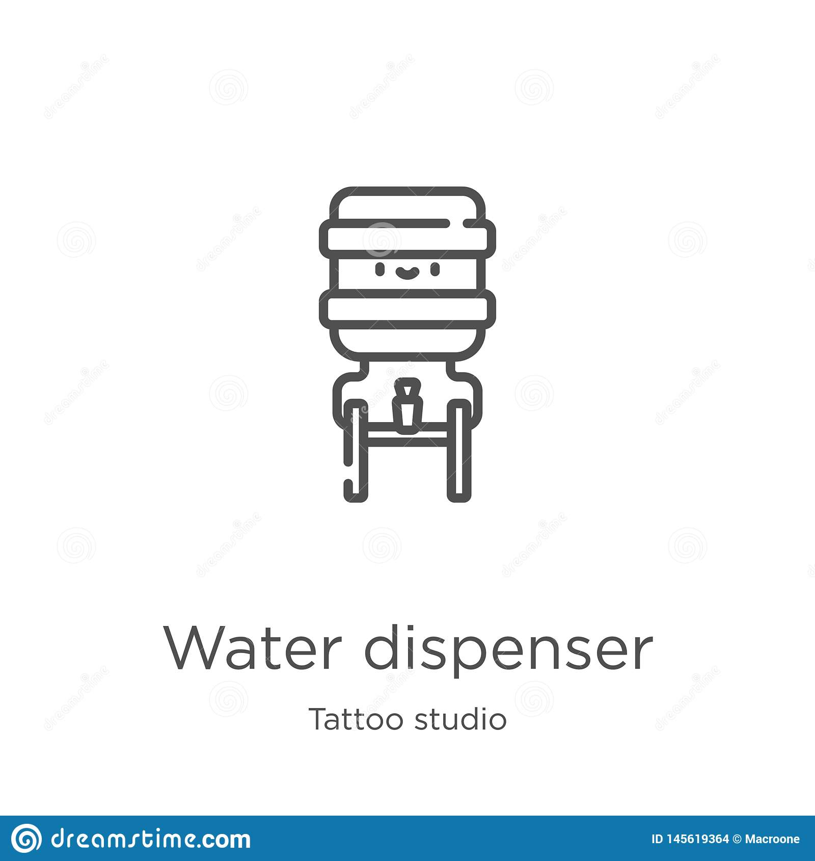 Vector del icono del dispensador del agua de la colección del estudio del tatuaje Línea fina ejemplo del vector del icono del esq