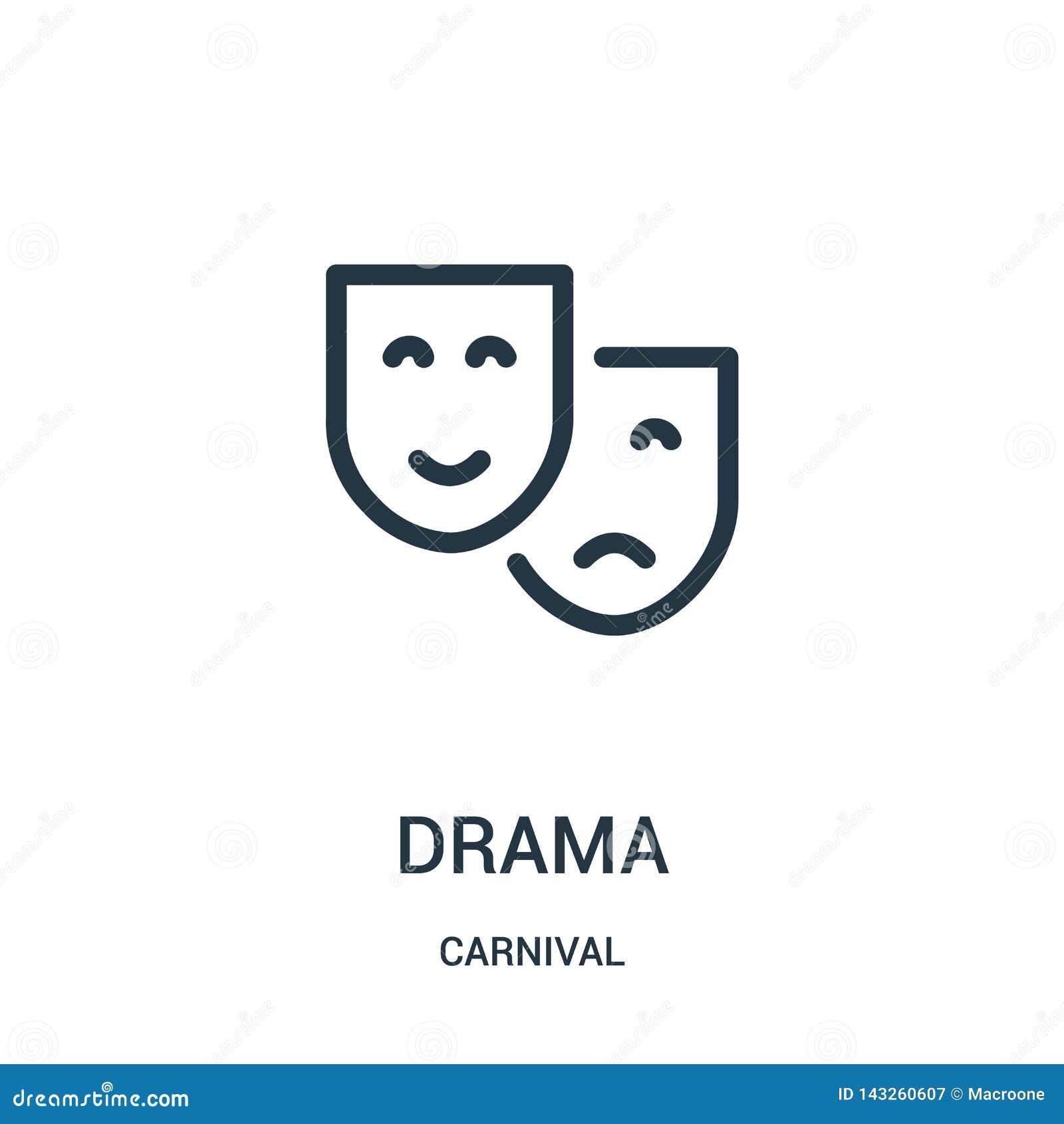 Vector del icono del drama de la colección del carnaval Línea fina ejemplo del vector del icono del esquema del drama