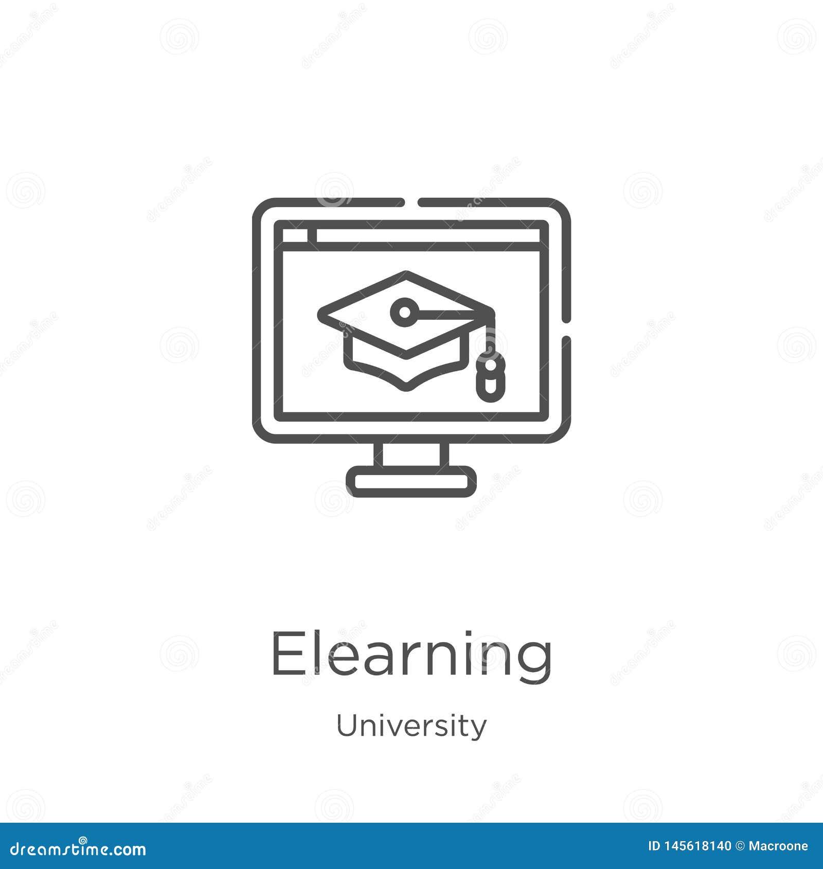Vector del icono del elearning de la colecci?n de la universidad L?nea fina ejemplo del vector del icono del esquema del elearnin