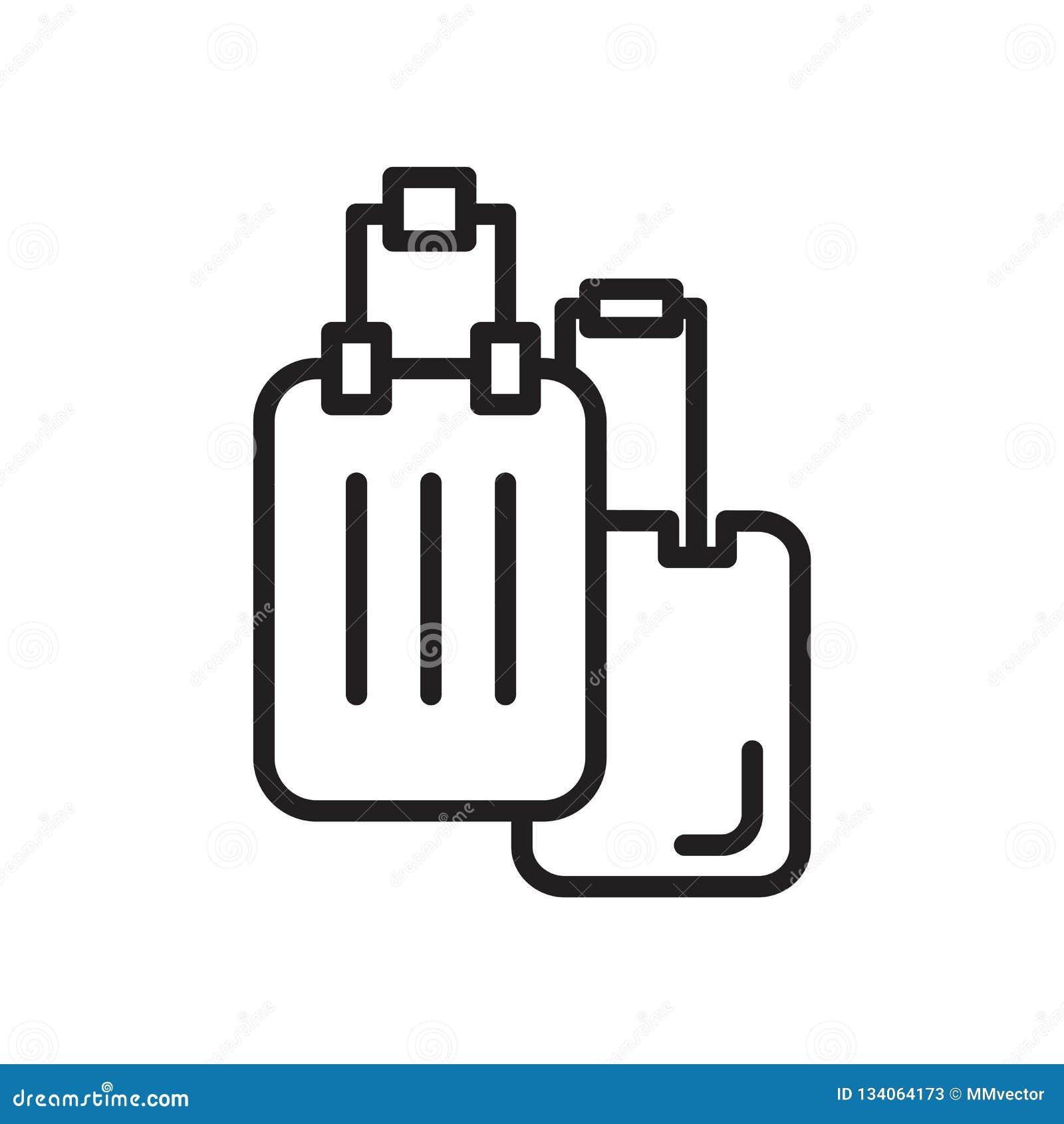 Vector del icono del equipaje aislado en el fondo blanco, la muestra del equipaje, el símbolo linear y elementos del diseño del m