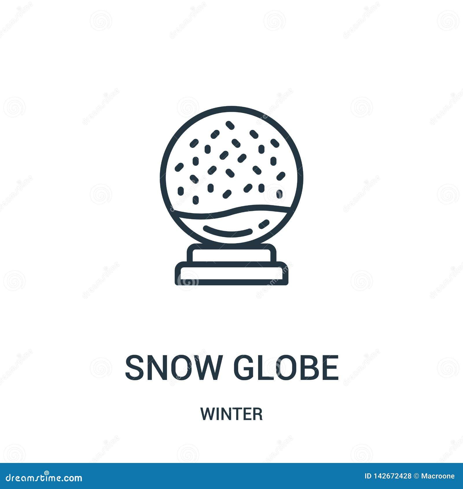 Vector del icono del globo de la nieve de la colección del invierno Línea fina ejemplo del vector del icono del esquema del globo