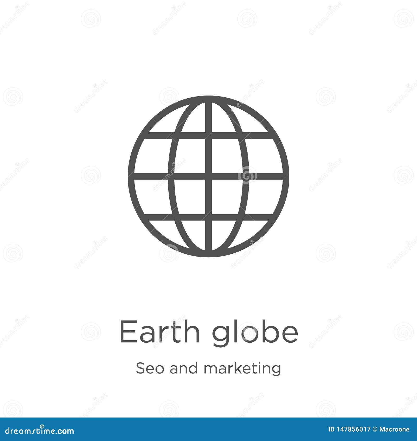 Vector del icono del globo de la tierra de la colecci?n del seo y del m?rketing L?nea fina ejemplo del vector del icono del esque